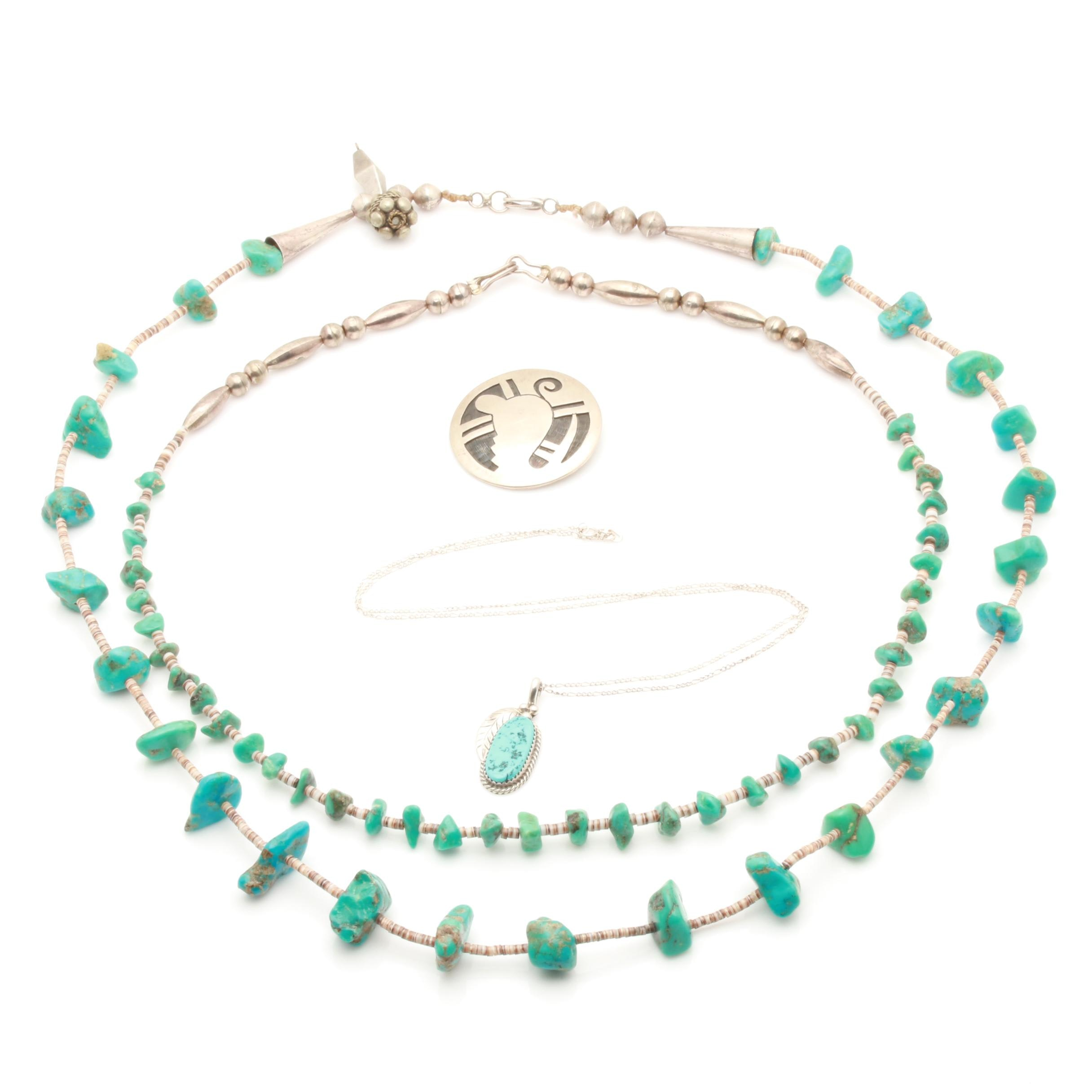 Assortment of Sterling Silver Turquoise Brooch, Pendant and Beaded Necklaces