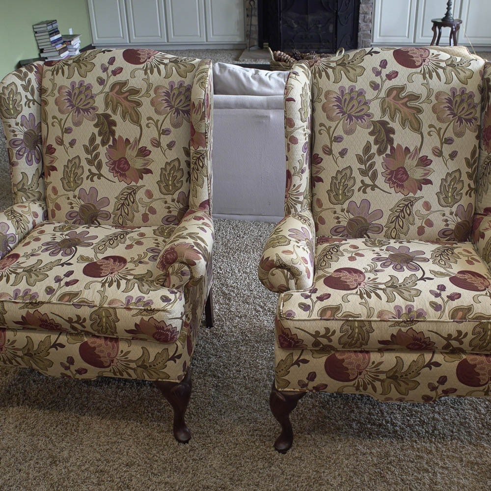 Queen Anne Style Floral-Upholstered Armchairs by Craftmaster