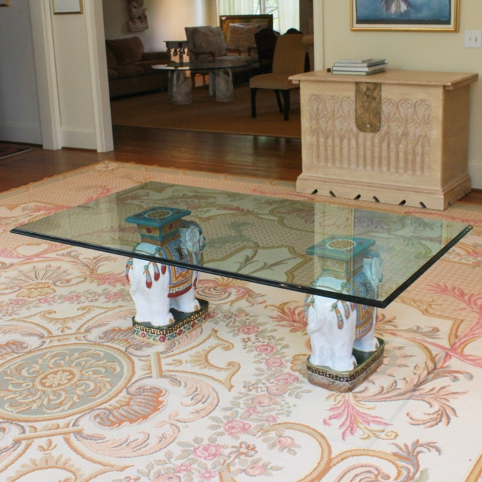 Glass Top Coffee Table with Ceramic Elephant Supports