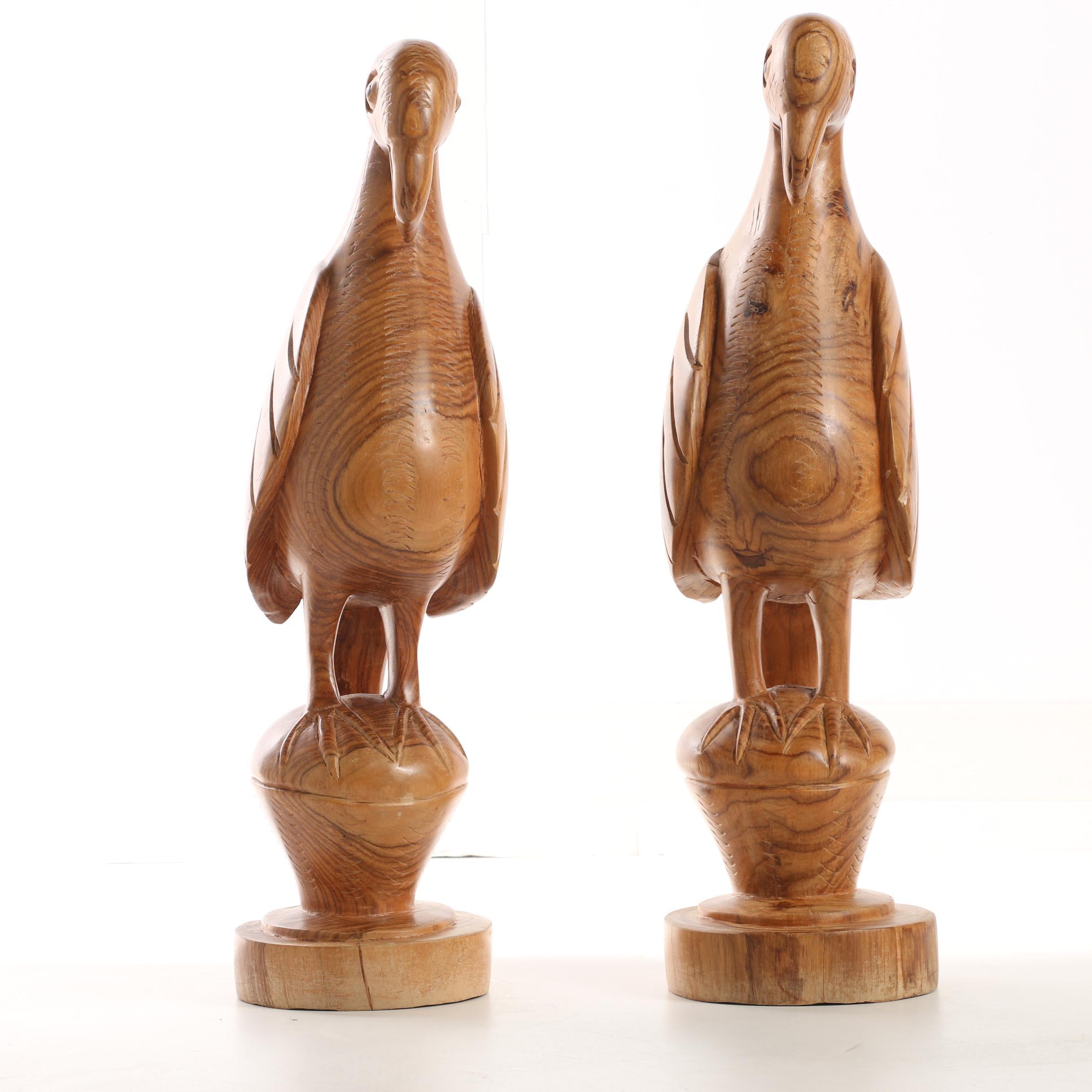 Carved Wooden Bird Sculptures