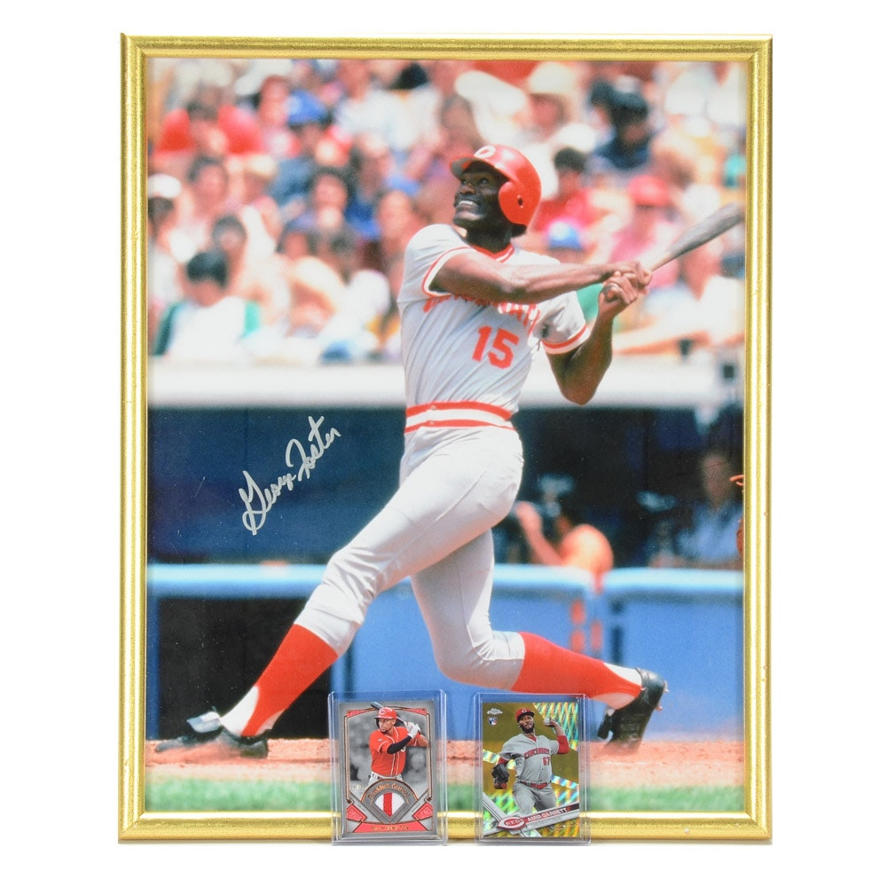 Foster Signed Photo with Reds Cards