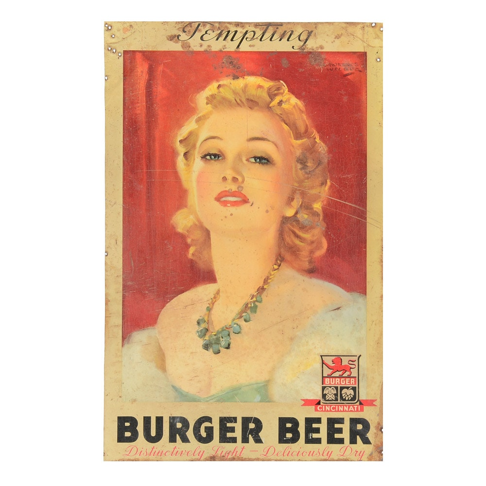 1930s-1940s Burger Beer Tin Lithograph Beer Display