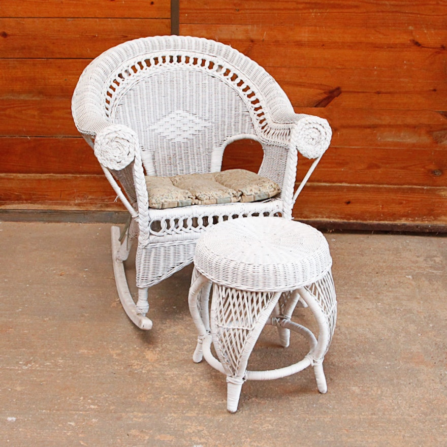 Admirable White Wicker Rocking Chair With Ottoman Inzonedesignstudio Interior Chair Design Inzonedesignstudiocom