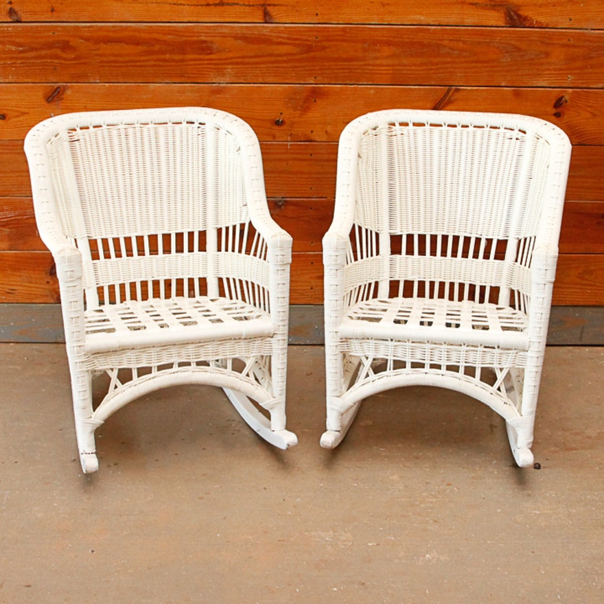 white plastic wicker rocking chairs ebth