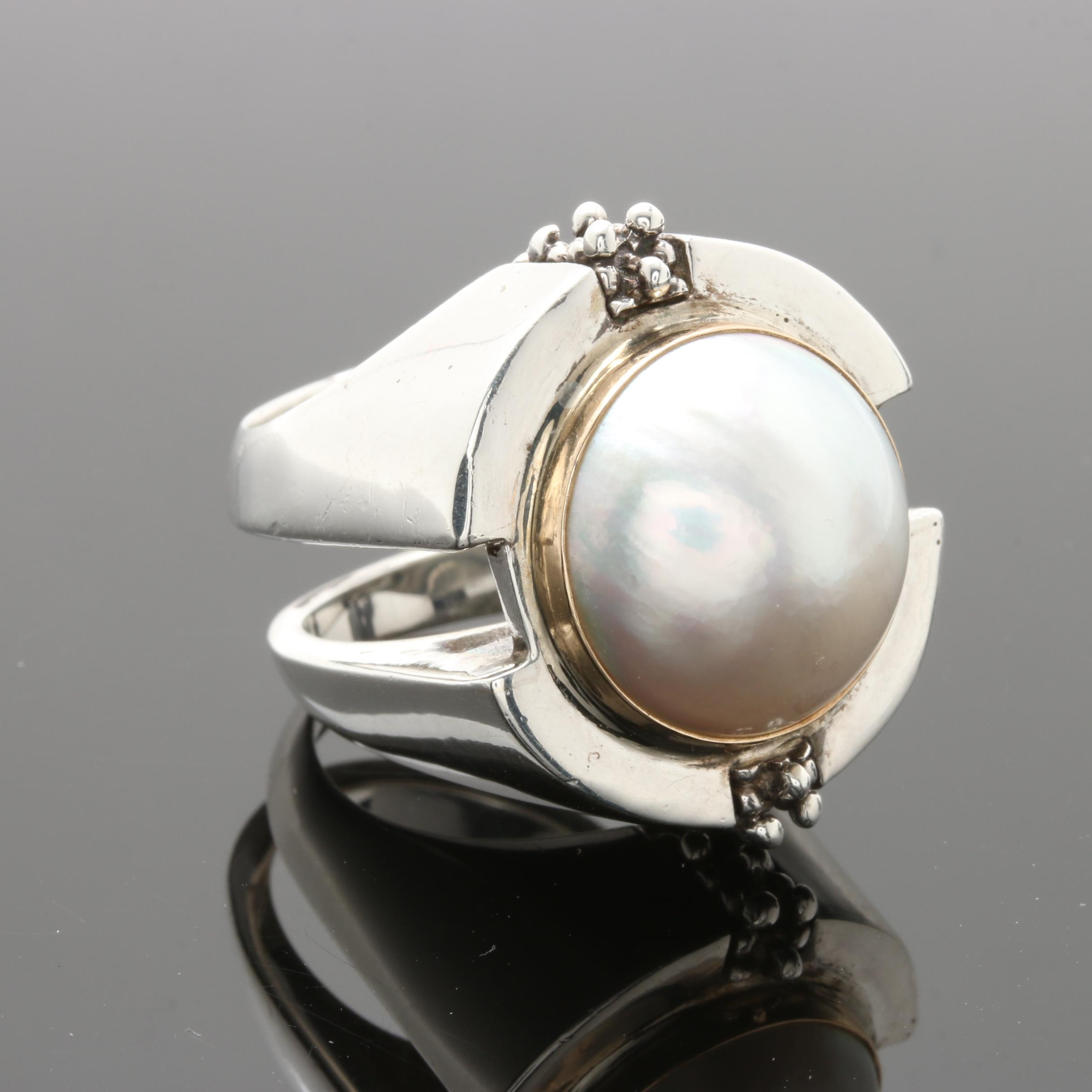 Sterling Silver Cultured Pearl Statement Ring