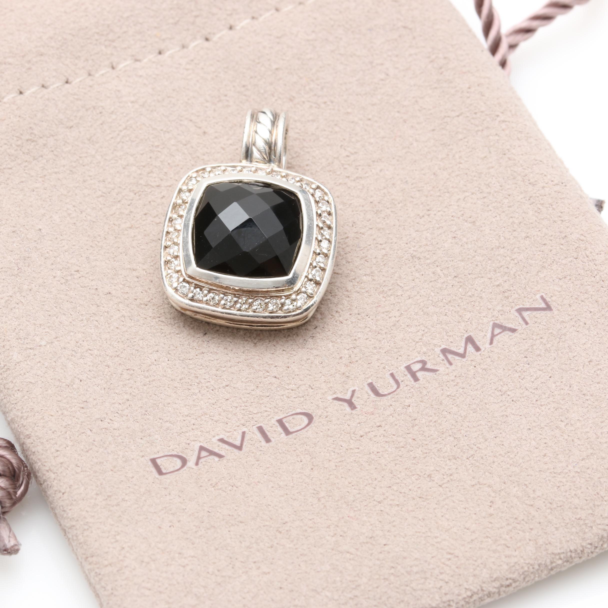 David Yurman Albion Sterling Silver Black Onyx and Diamond Pendant