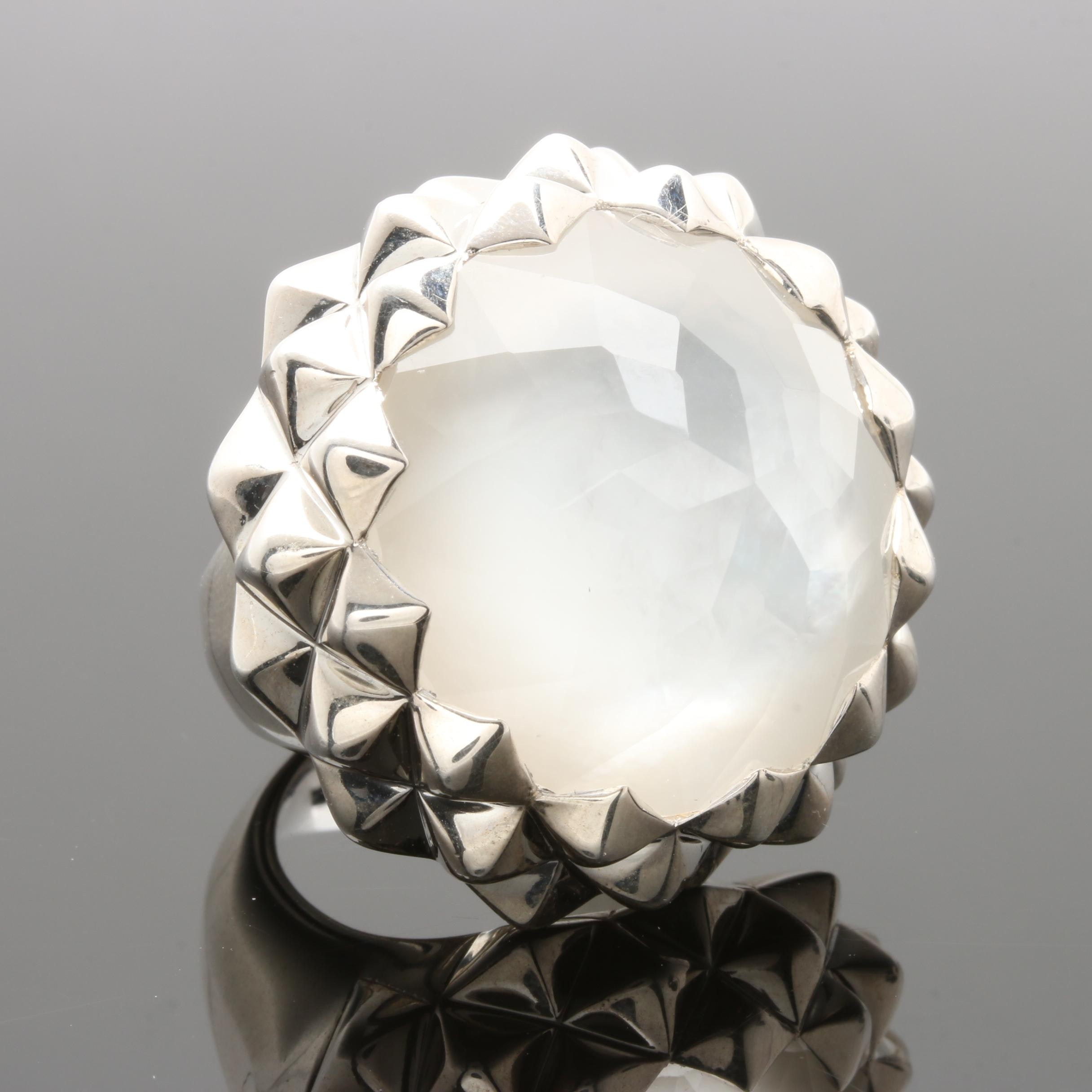 Stephen Webster Sterling Silver Quartz and Mother of Pearl Doublet Ring