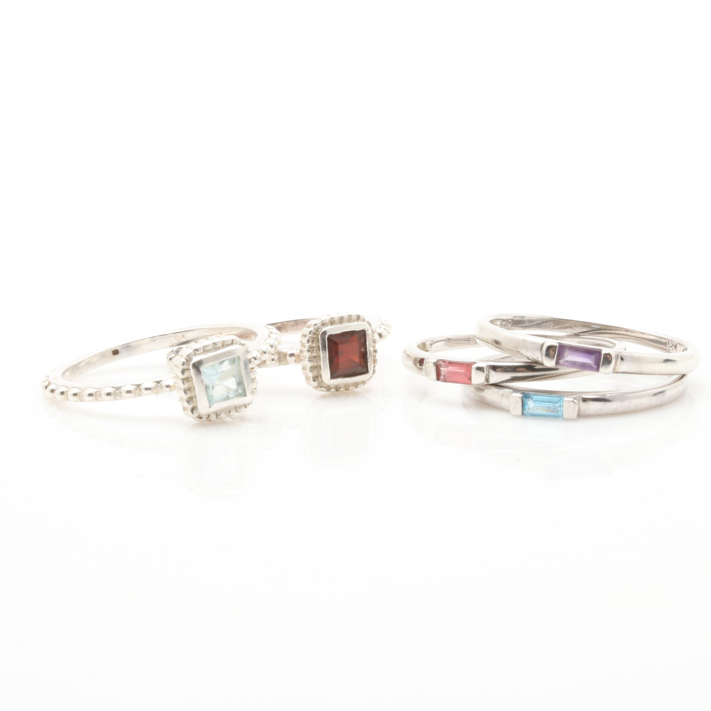 Selection of Sterling Silver Amethyst, Garnet and Blue Topaz Stacking Rings