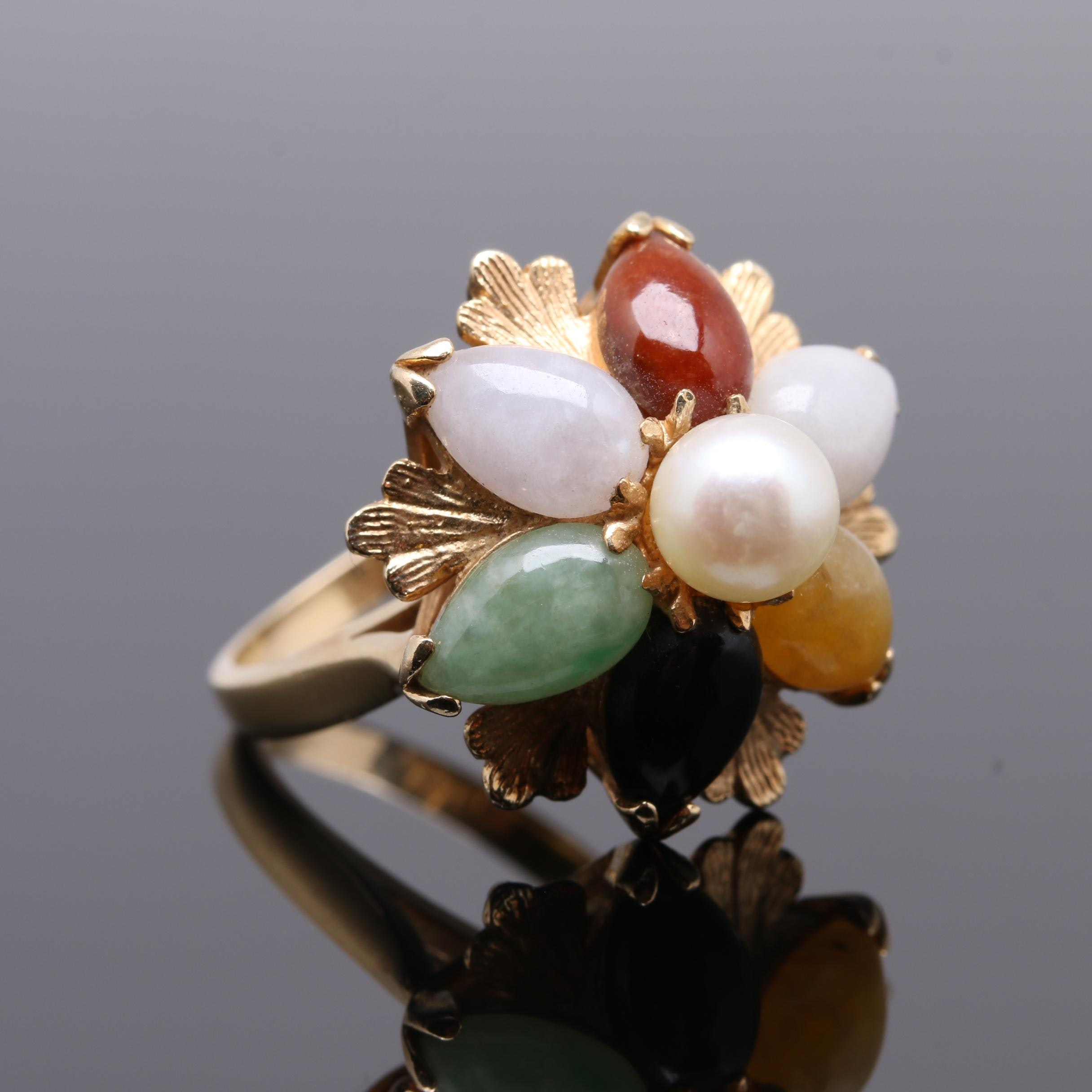 14K Yellow Gold Jadeite, Black Onyx, and Cultured Pearl Ring