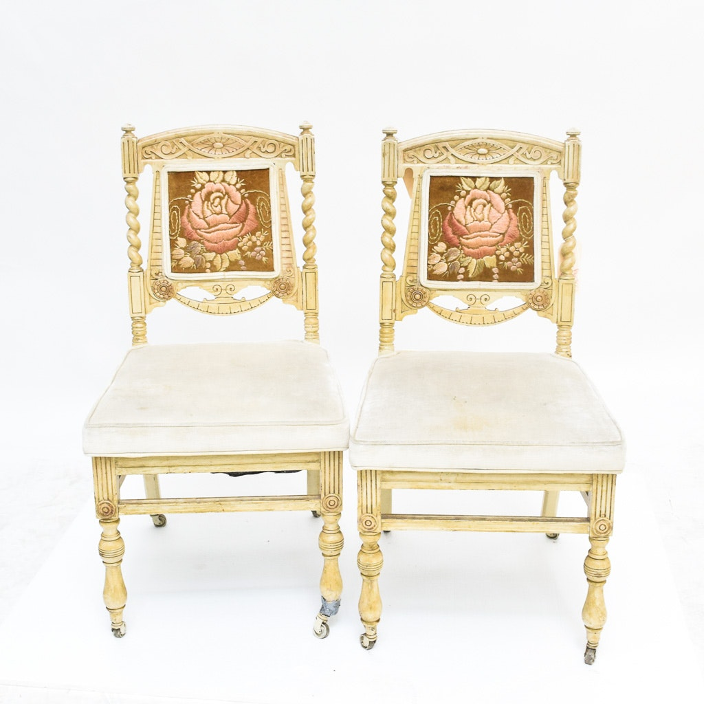 Two Victorian Style Upholstered Dining Chairs with Silk Embroidery