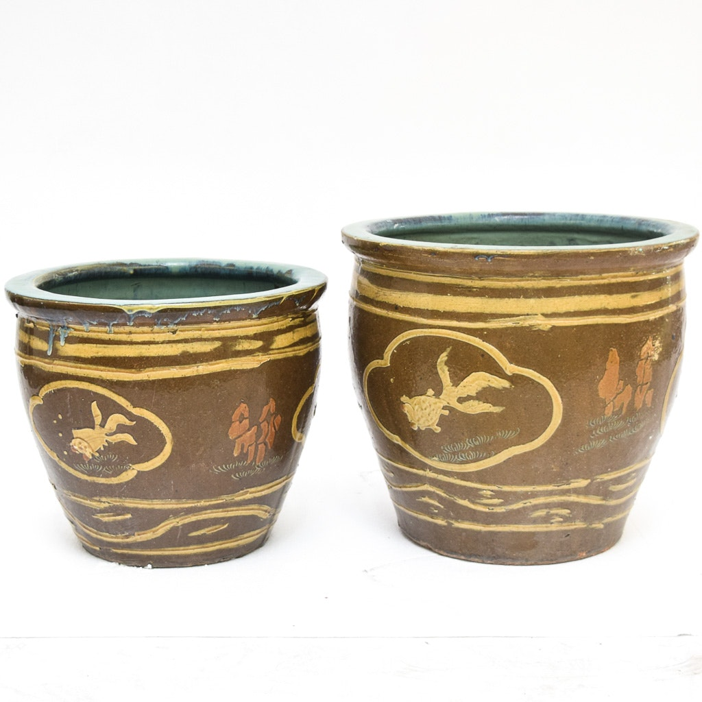 Chinese Large Brown and Yellow Ceramic Planters