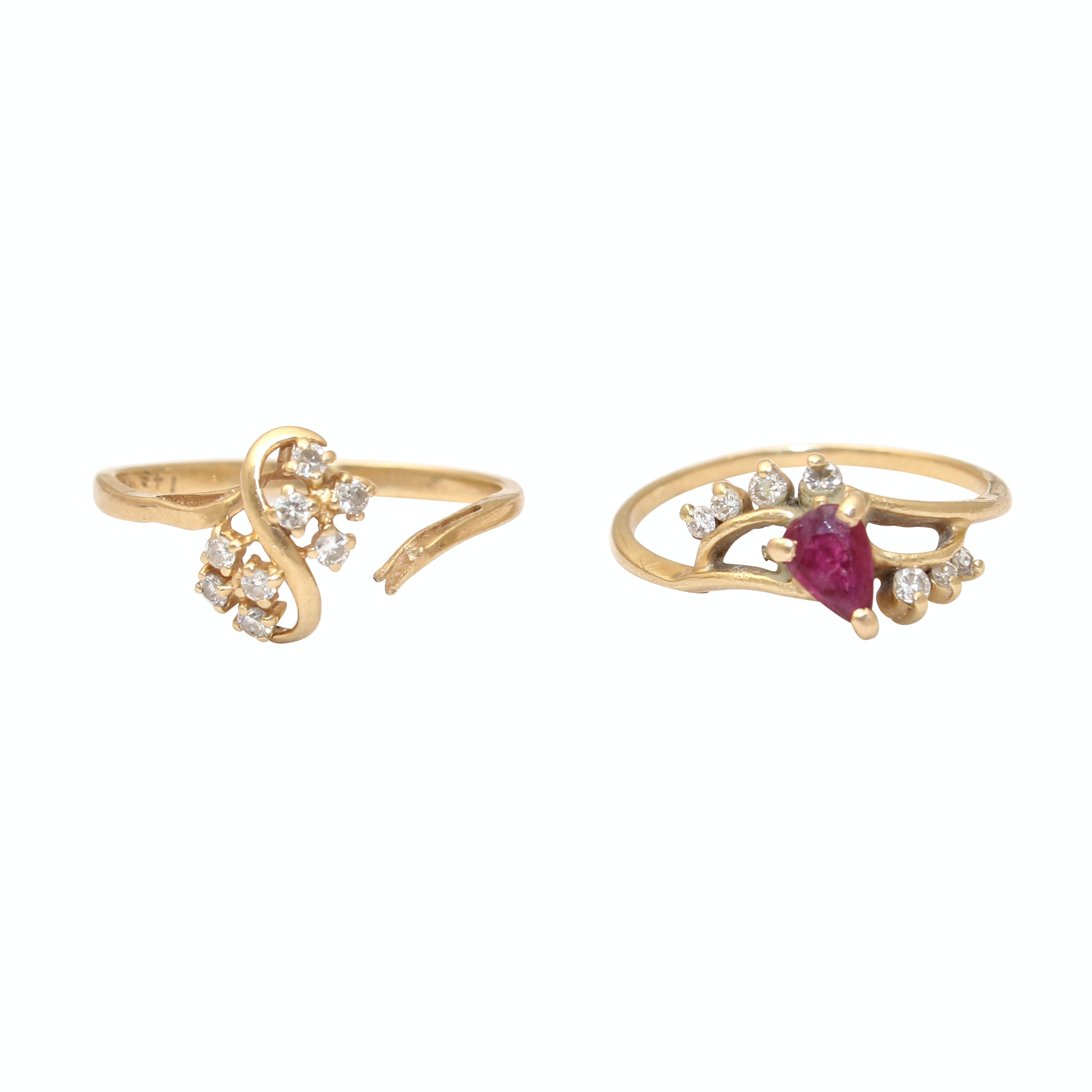 14K Yellow Gold Diamond and Ruby Rings