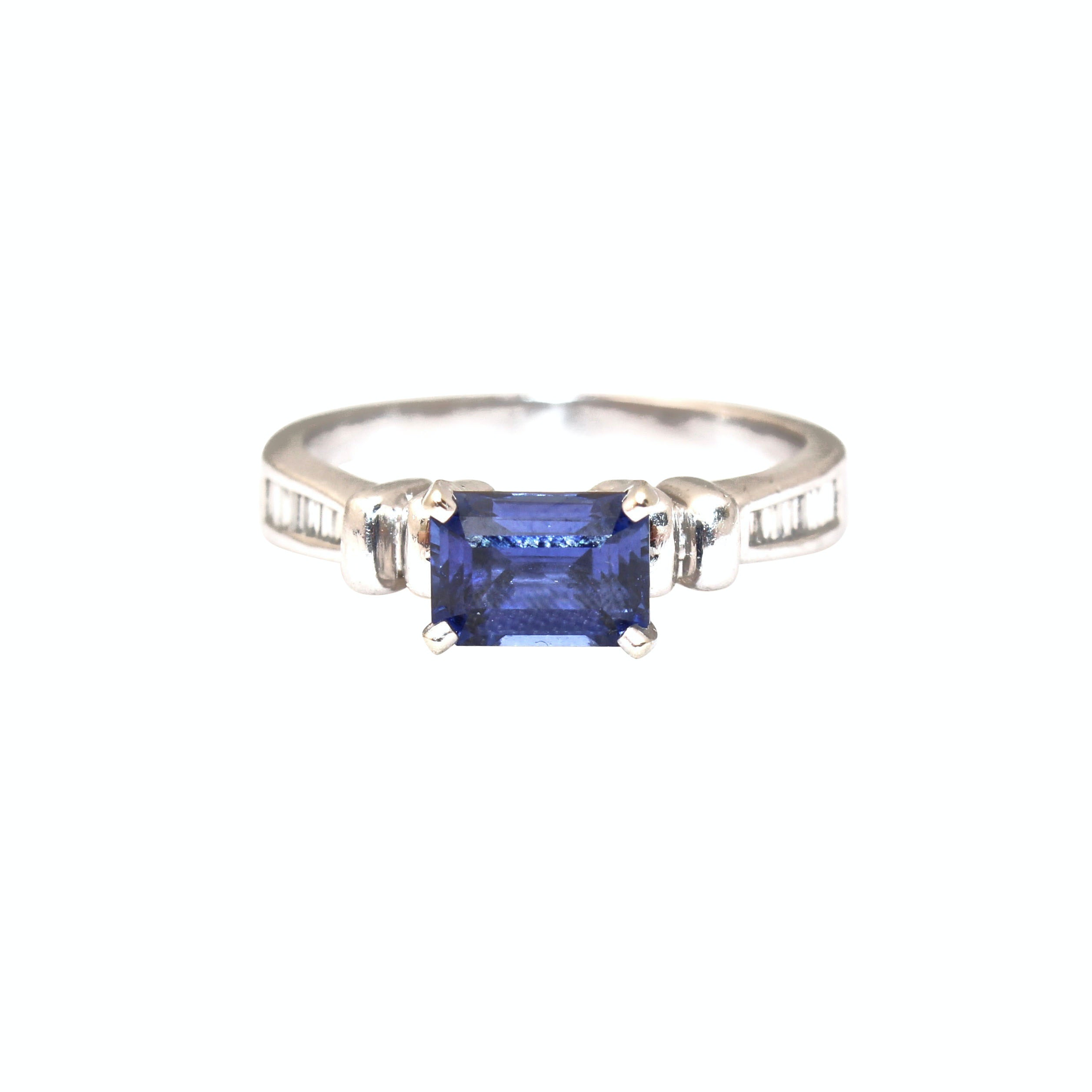Platinum and 14K White Gold Blue Sapphire and Diamond Ring