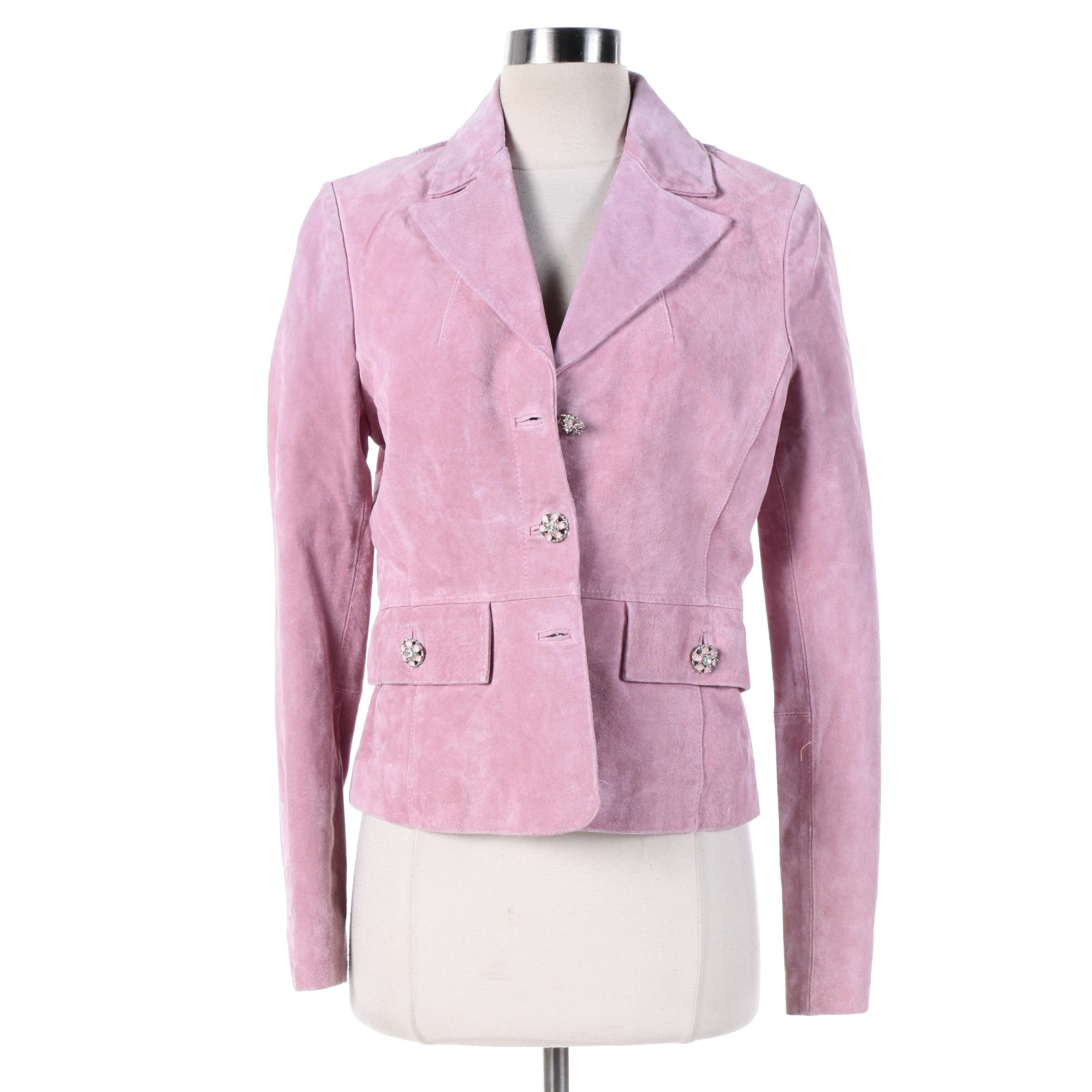 Women's XOXO Pink Suede Jacket with Rhinestone Embellishments