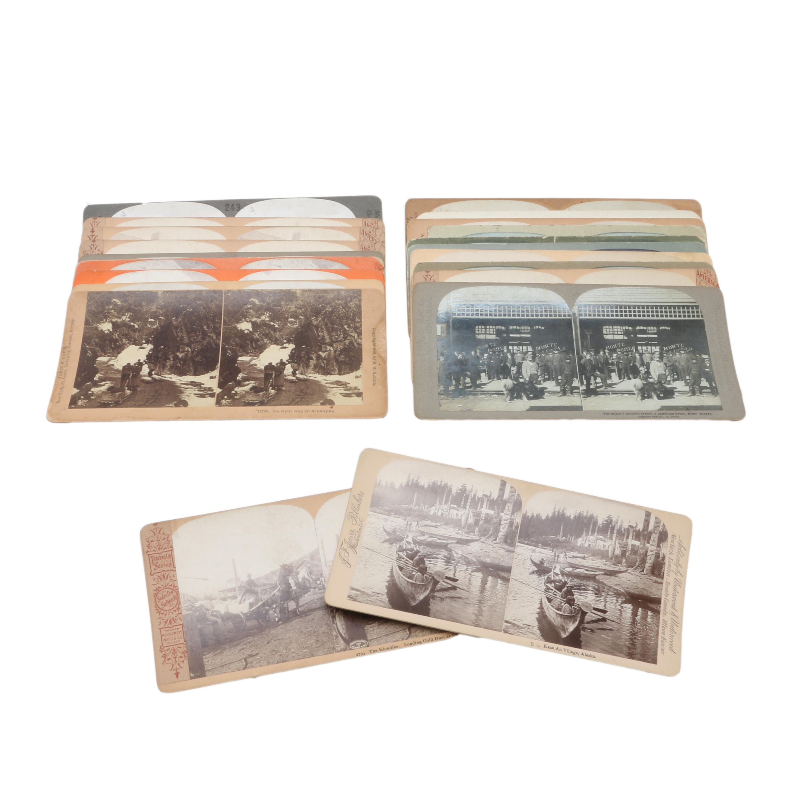 Collection of Various Antique Stereoview Cards of Alaskan Mining Scenes