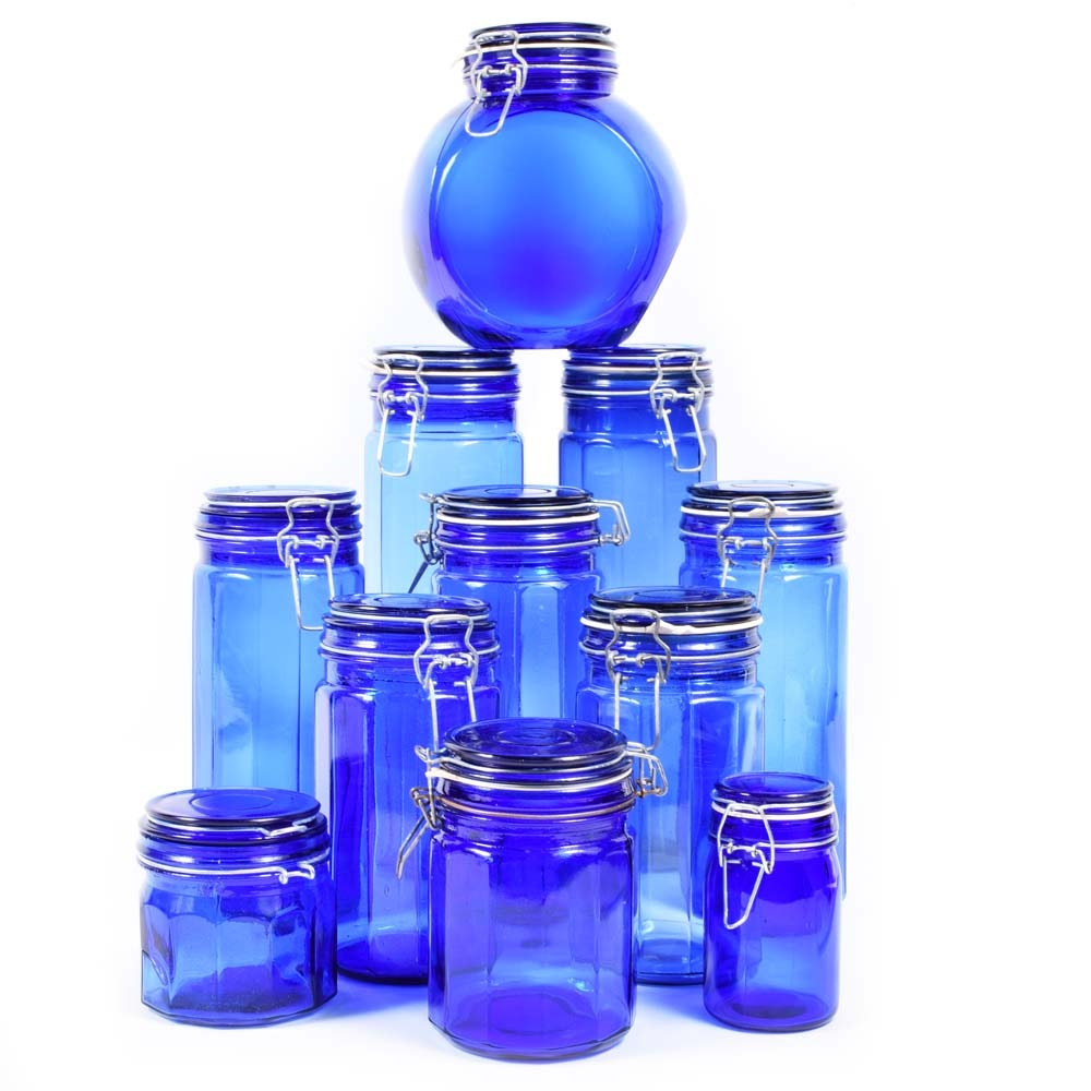 Cobalt Blue Glass Canisters
