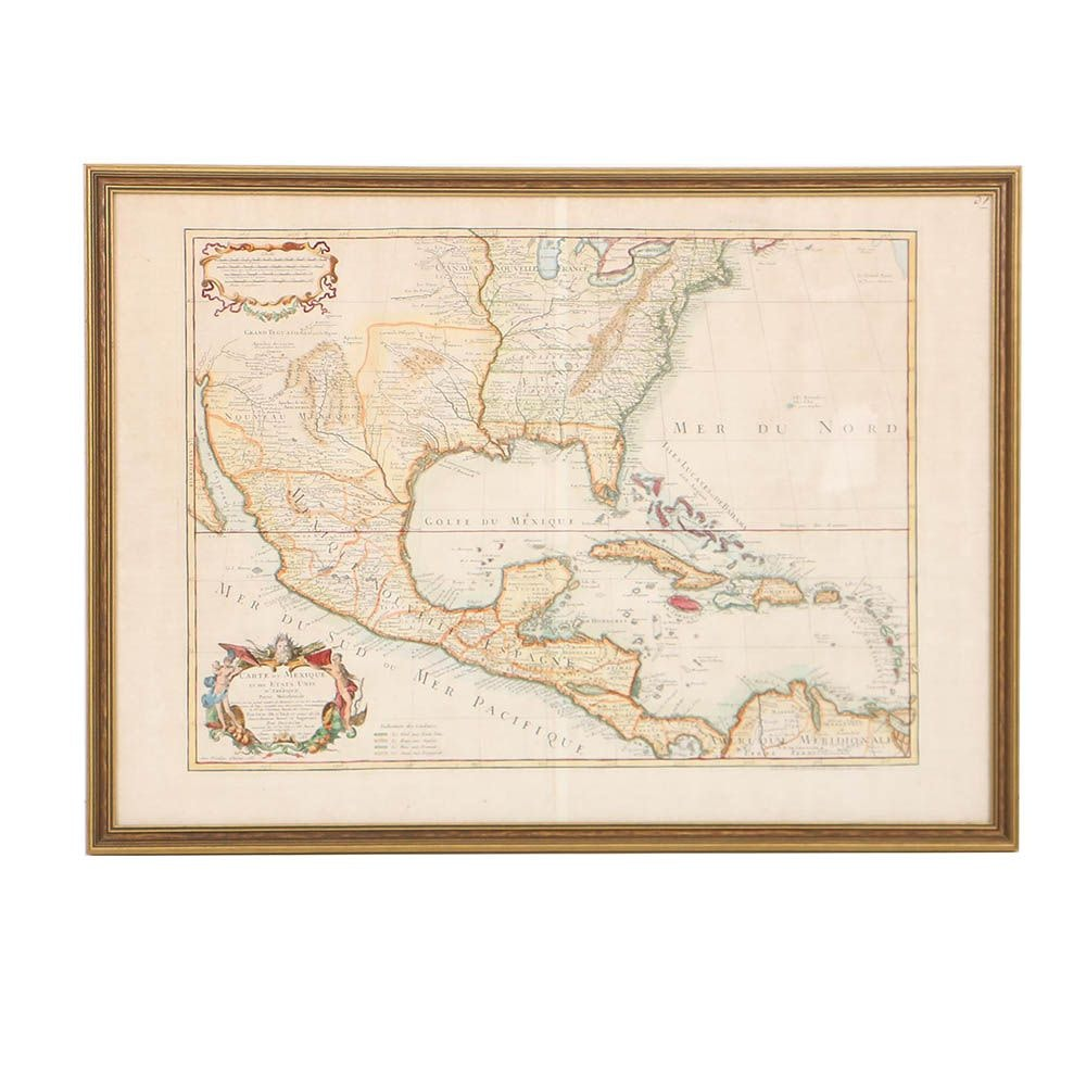 Jean Dezauche Late 18th-Century Hand-Colored Map Engraving of U.S. and Mexico