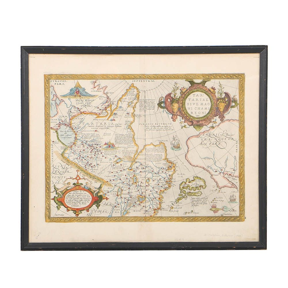 Abraham Ortelius Late 16th-Century Map Engraving of Tartary, Japan, & More