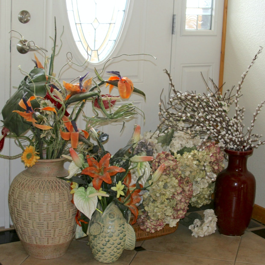 Faux Flowers With Decorative Vases And Baskets Ebth