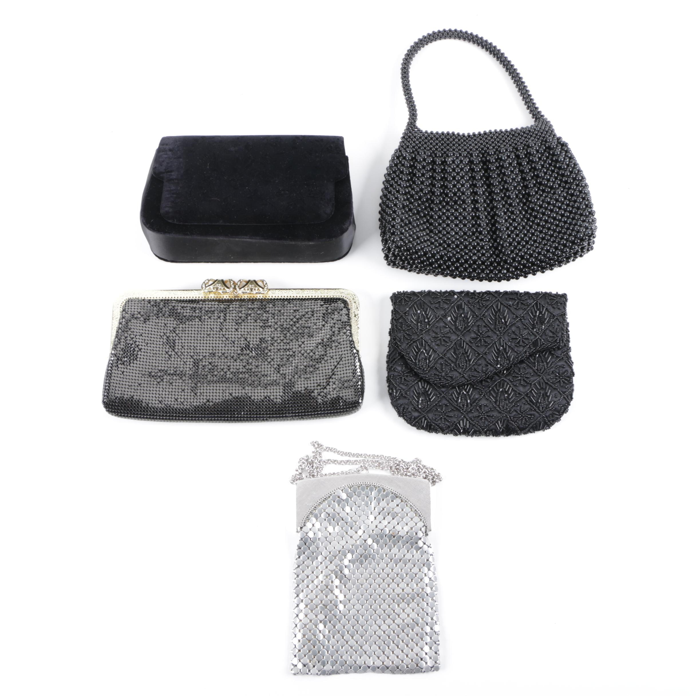 Metal Mesh, Beaded and Velvet Evening Bags Including Whiting and Davis