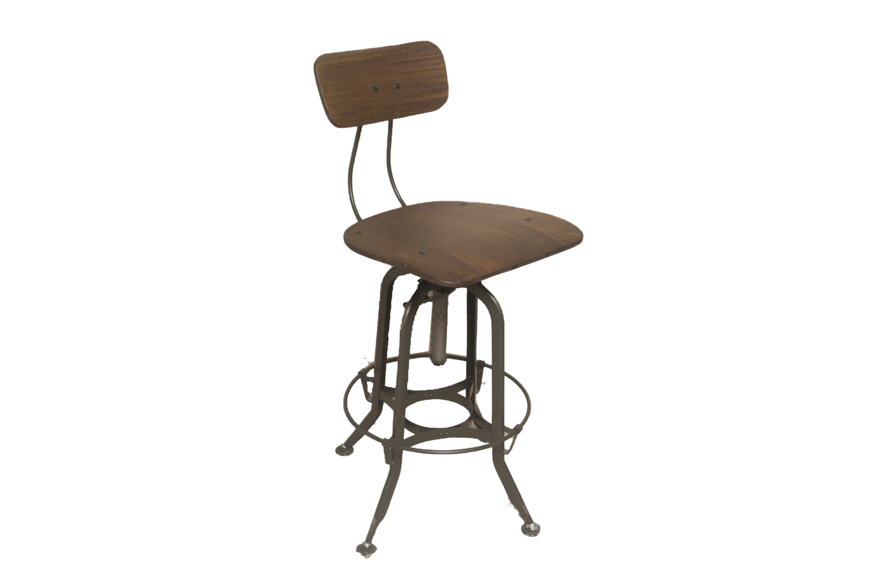 Metal and Wooden Drafting Chair