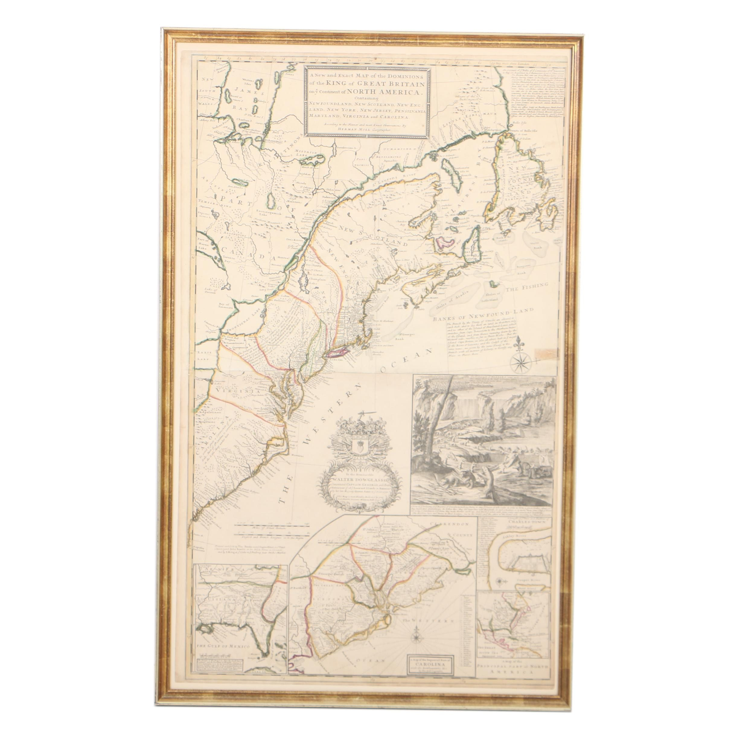 Herman Moll Early 18th-Century Map Engraving of North American British Colonies