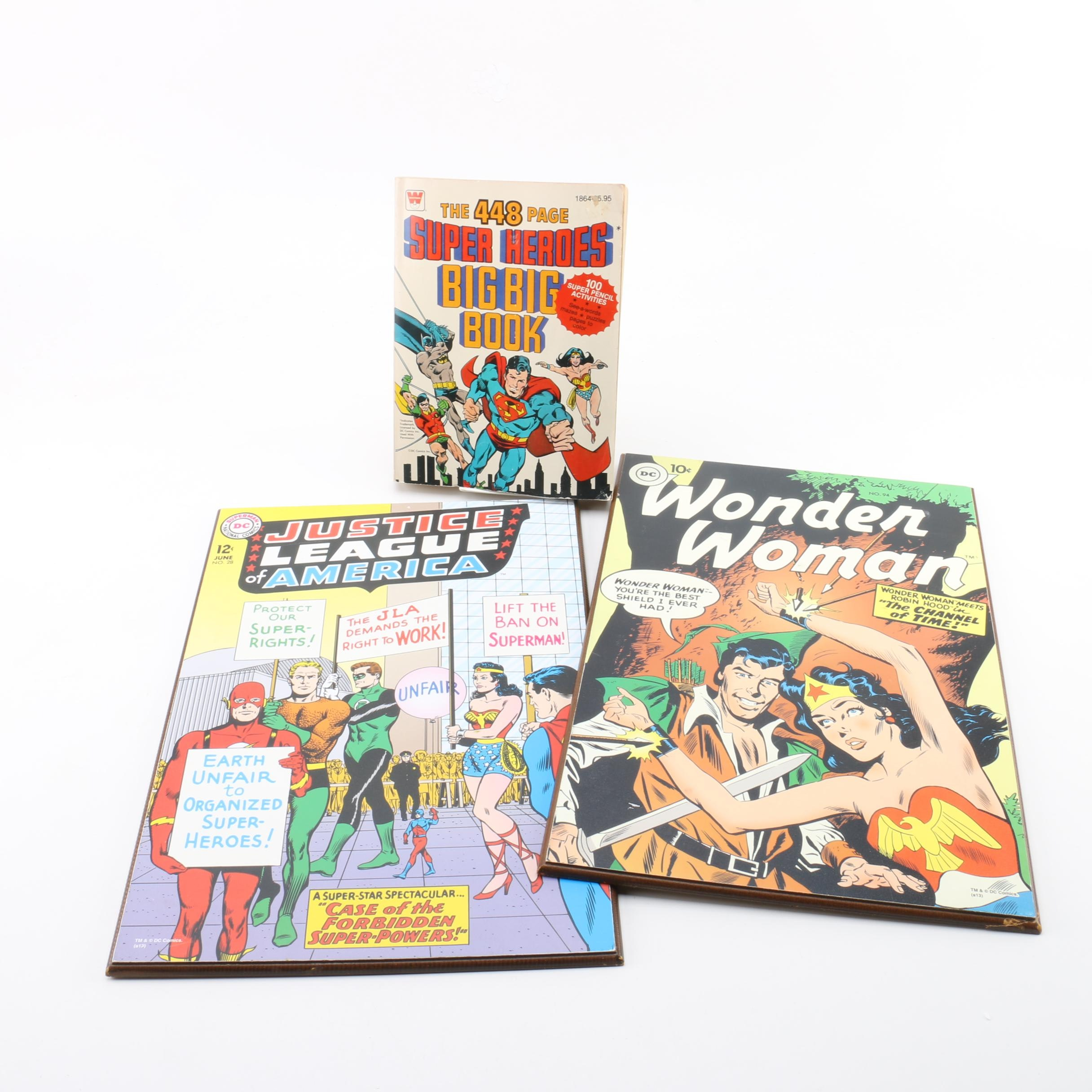 "Wonder Woman and Justice League Decorative Plaques with ""Big Big Book"""