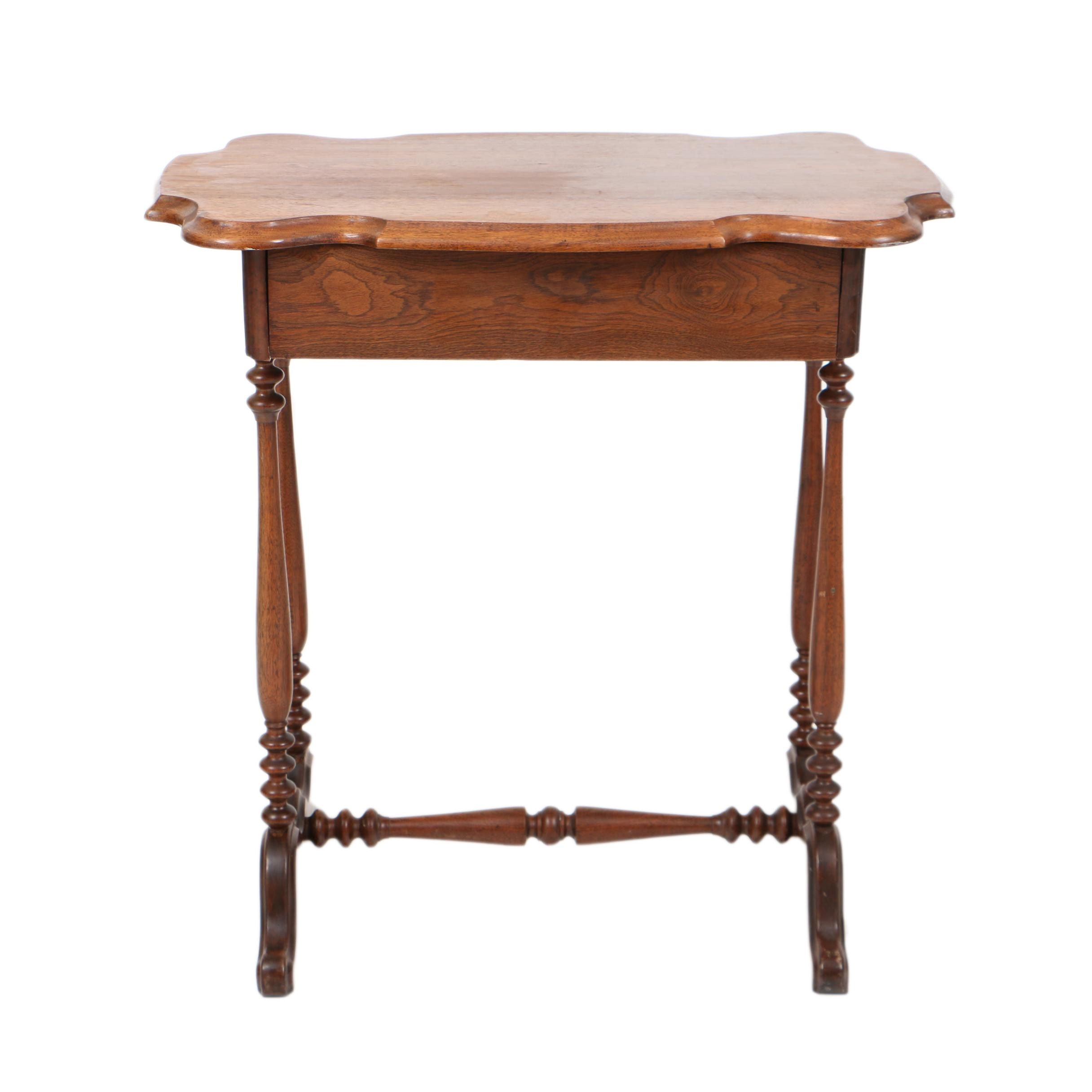 Antique Victorian One-Drawer Side Table in Walnut, Late 19th Century