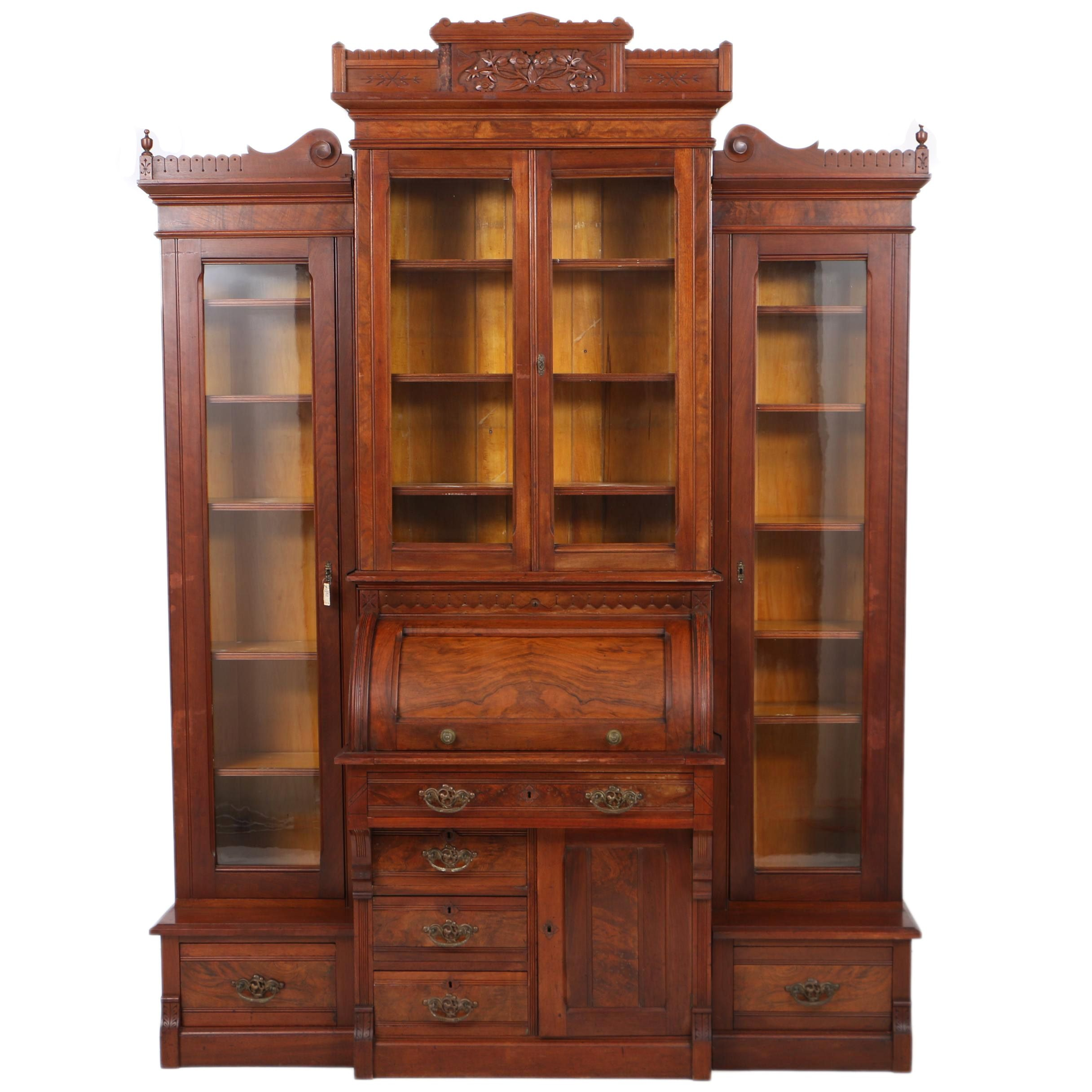 Antique Victorian Eastlake Cylinder Secretary with Bookcases, Late 19th Century