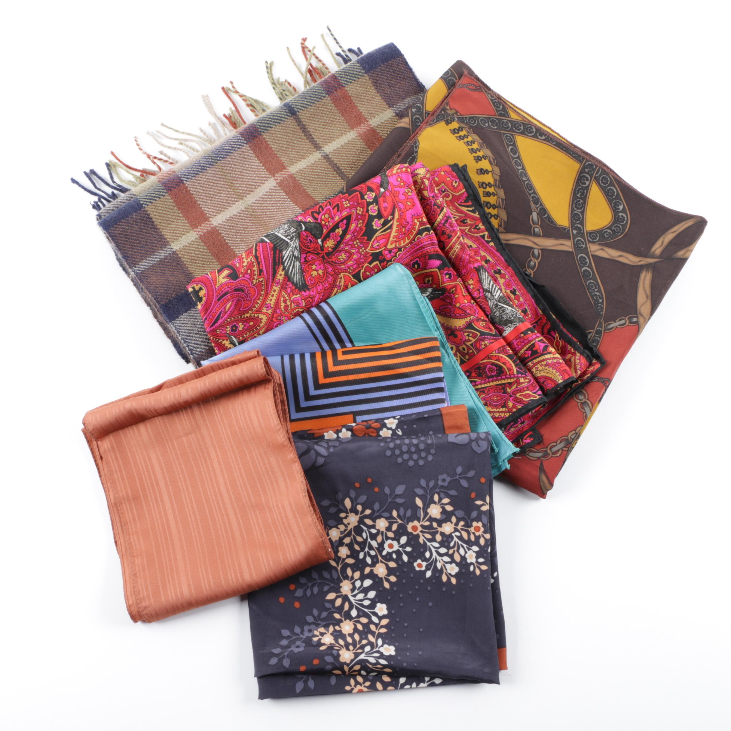 Women's Fashion Scarves Including Floral and Plaid Prints