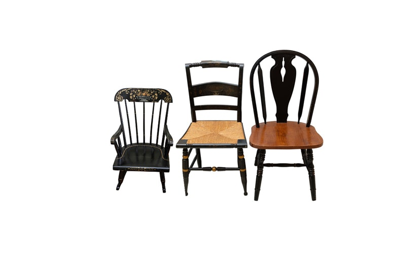 Nichols & Stone Hitchcock Side Chair, Windsor Chair and Childs Rocker