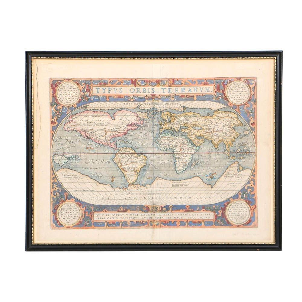"""Abraham Ortelius Late 16th-Century Map Engraving """"Typus Orbis Terrarum"""""""