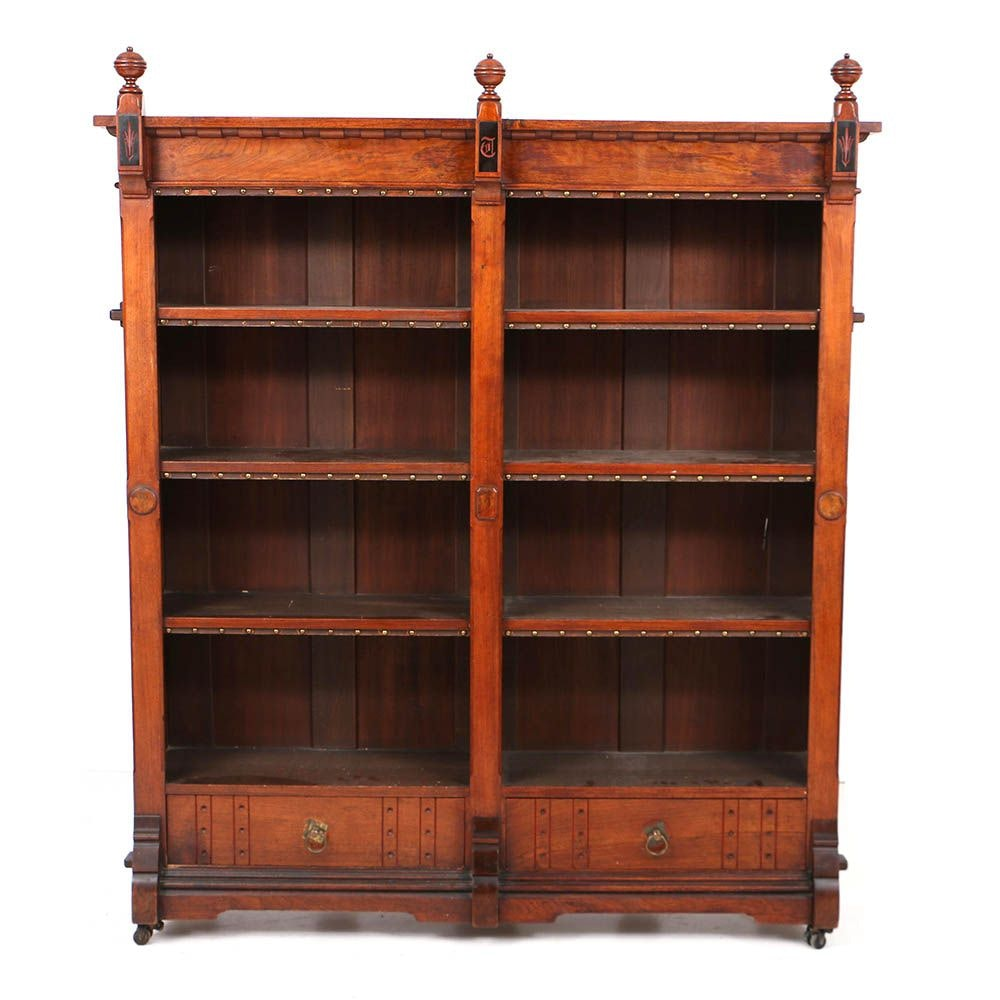 Antique Victorian Aesthetic Movement Walnut and Tile-Mounted Bookcase