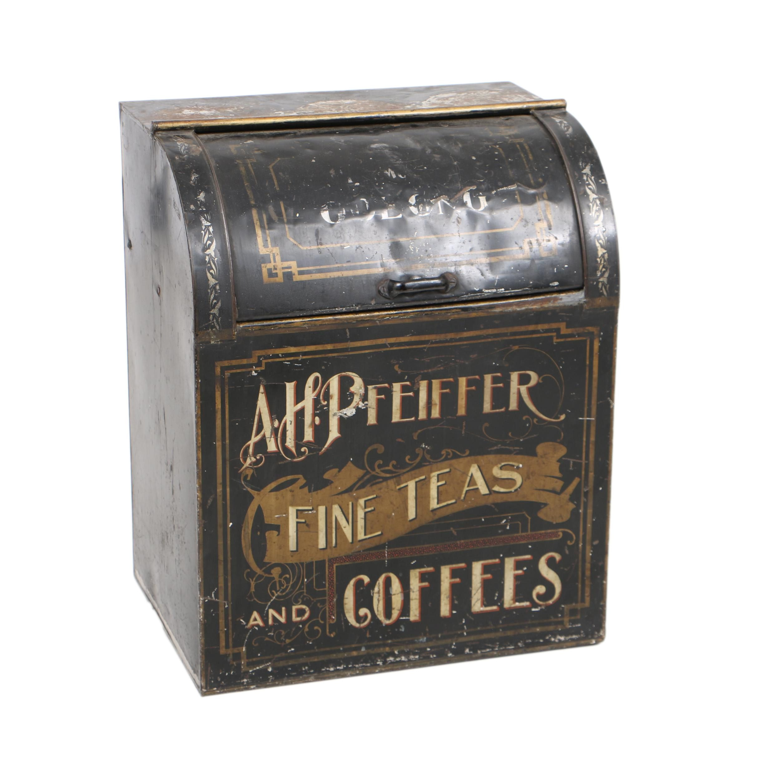 "Antique ""A.H. Pfeiffer"" Tole Country Store Tea Bin by North Western Can Co."