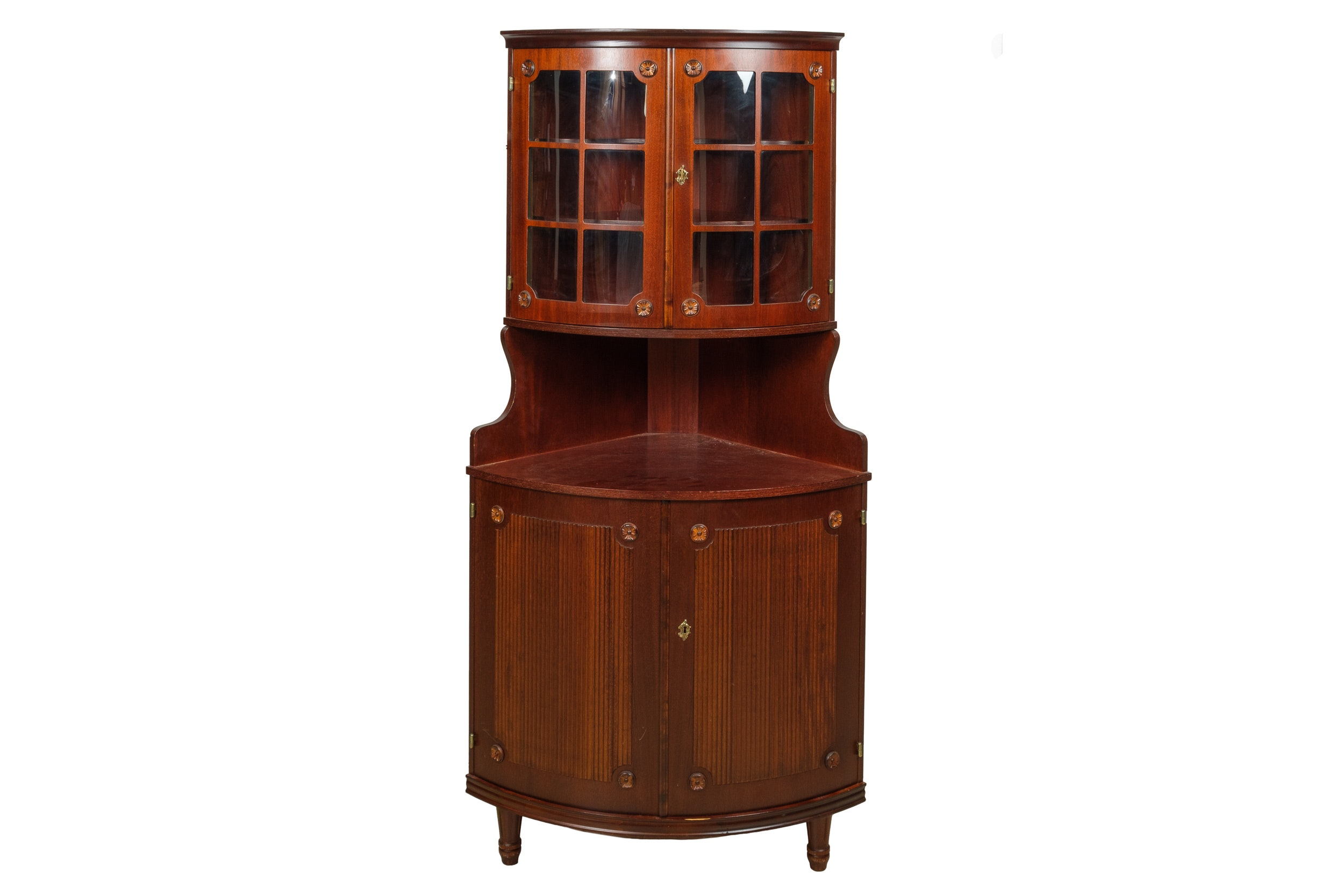 Bow Front Corner Display Over Cabinet