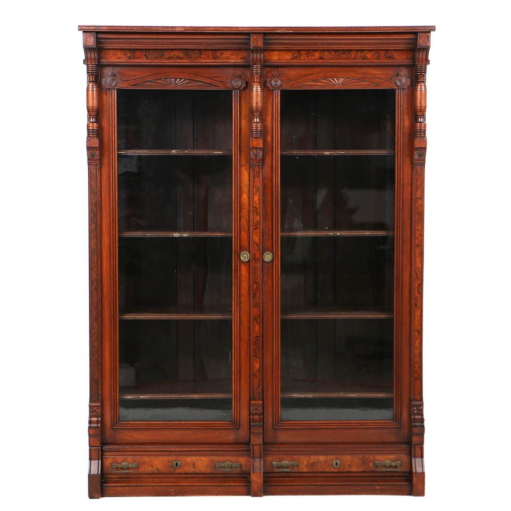 Antique Victorian Eastlake Walnut Bookcase with Two Drawers, Late 19th Century