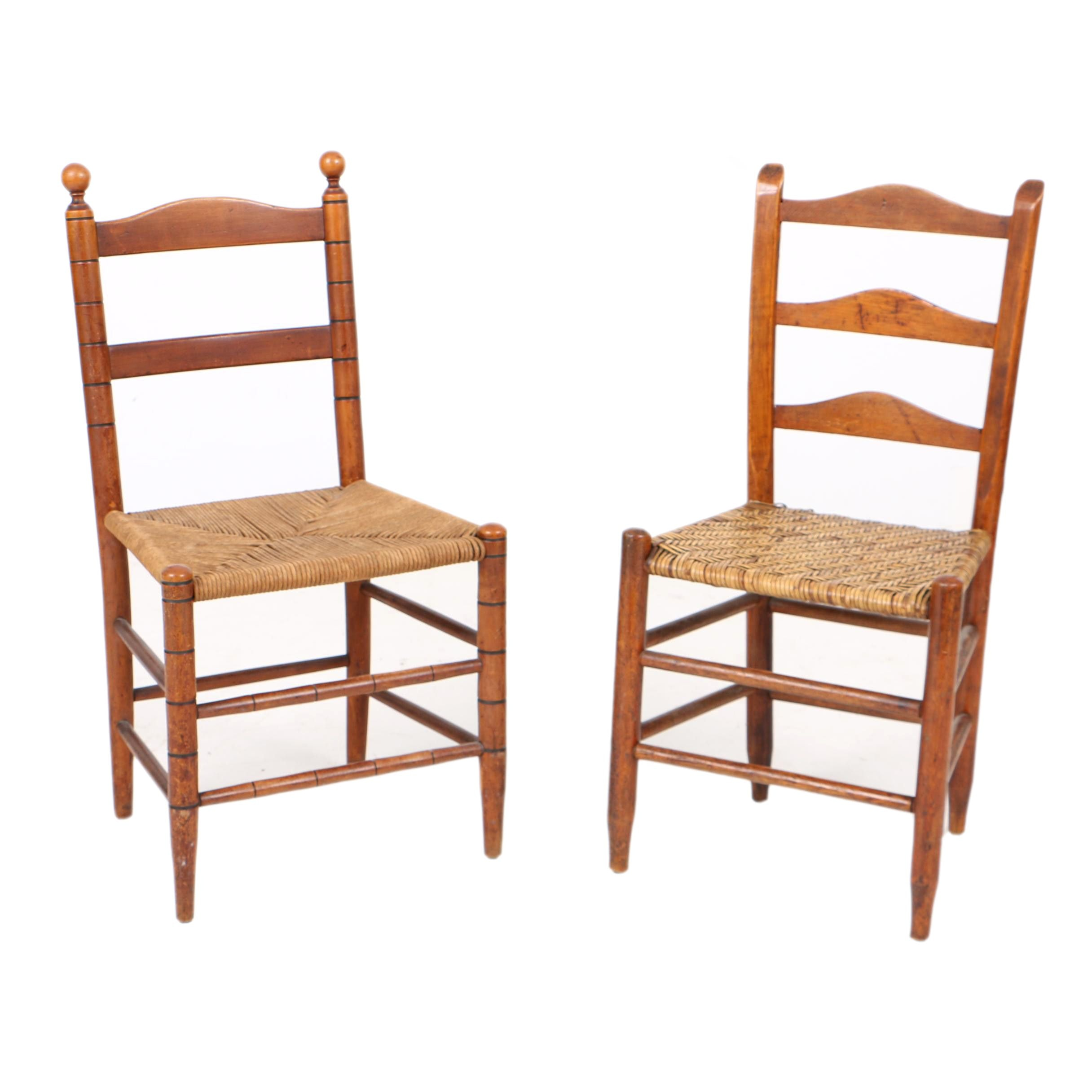 Antique Ladderback Side Chairs, 19th Century