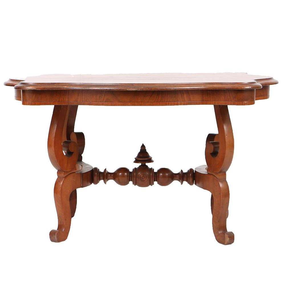 Antique Victorian Turtle-Top Center Table Cut to Coffee Table Height