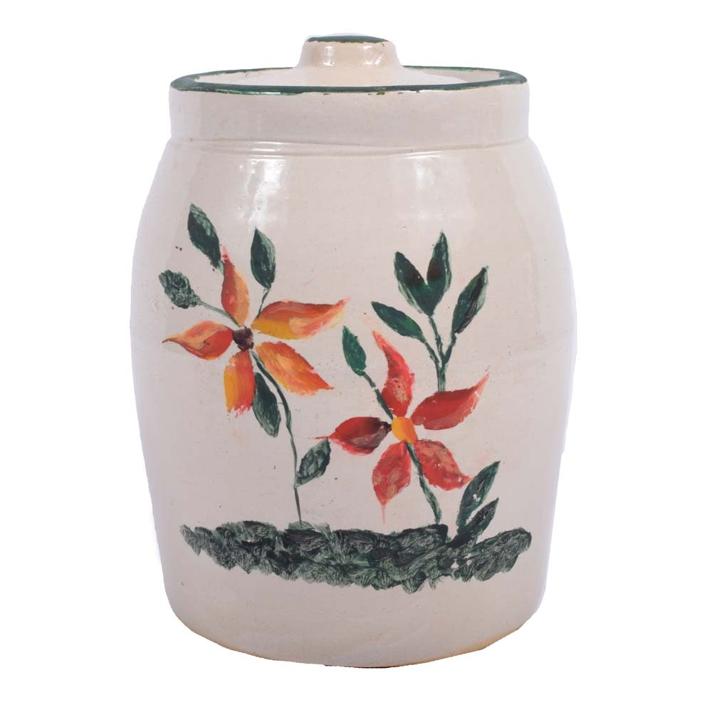 Vintage Hand-Painted 2 Gallon Stoneware Crock