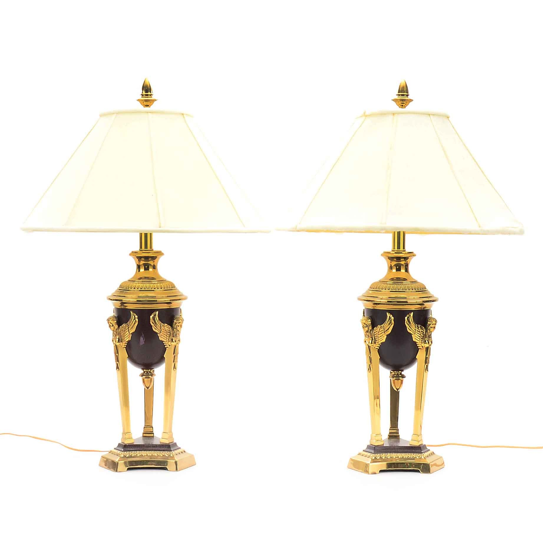 Pair Of French Empire Style Rembrandt Lamps ...