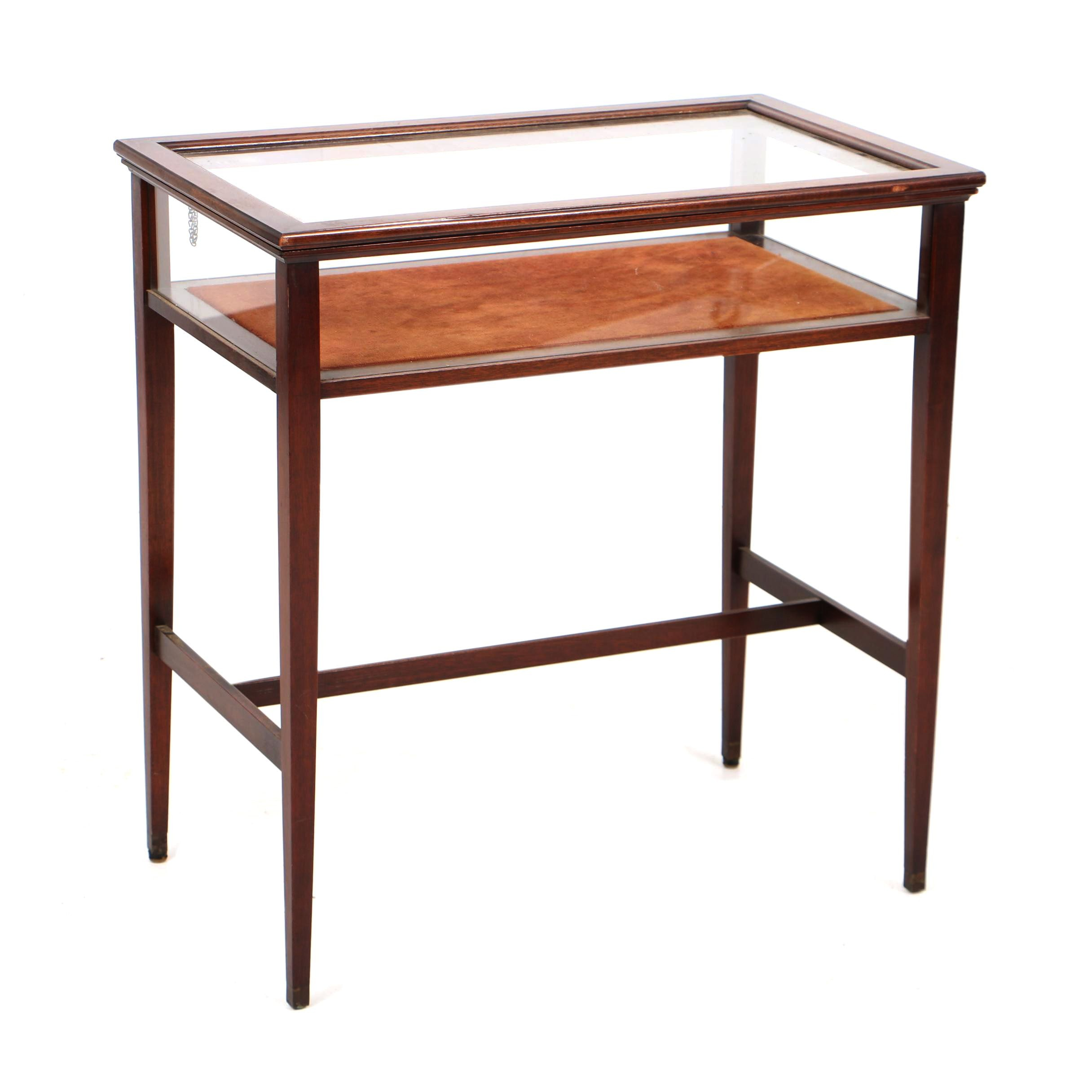 Vintage Ferguson Bros. Mfg. Co. Mahogany Lift-Top Vitrine Side Table