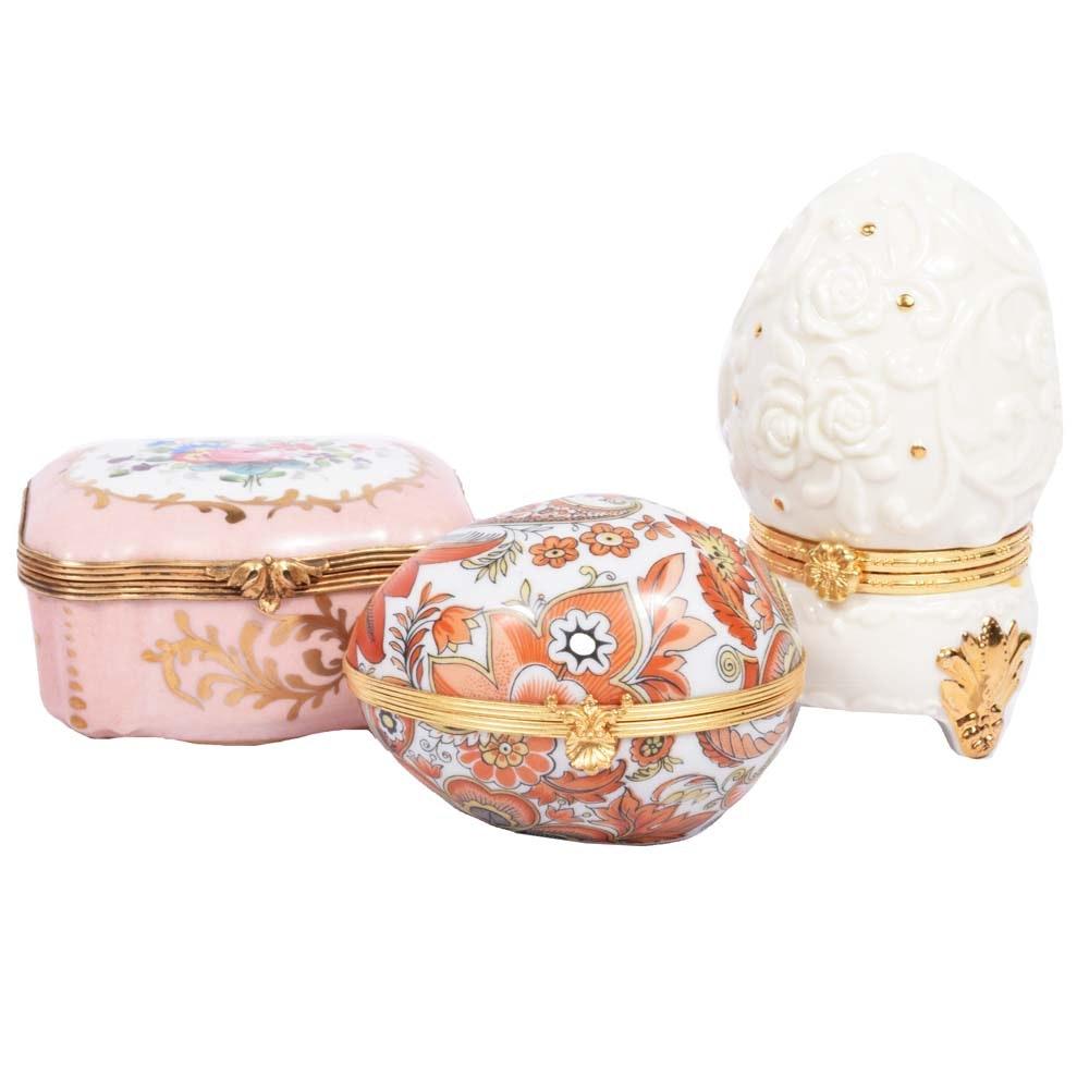 Porcelain Trinket Boxes including Limoges