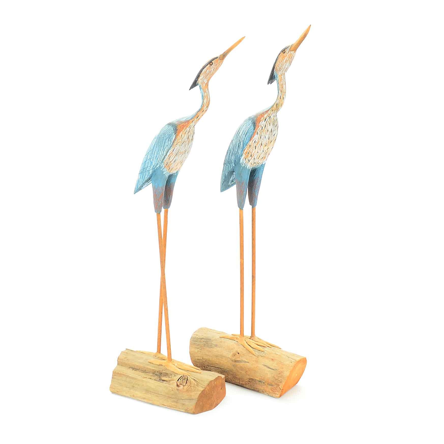 Pair of Painted Hand-crafted Wood Birds