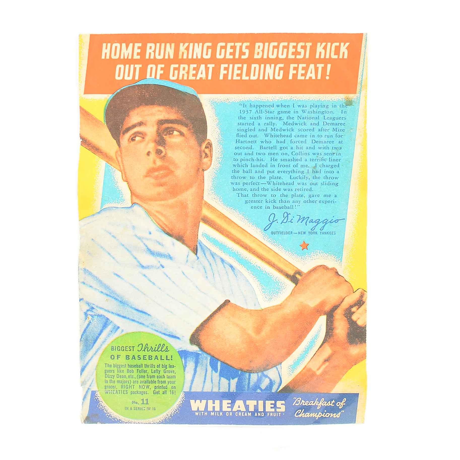 1930s Joe DiMaggio New York Yankees Wheaties Baseball Card