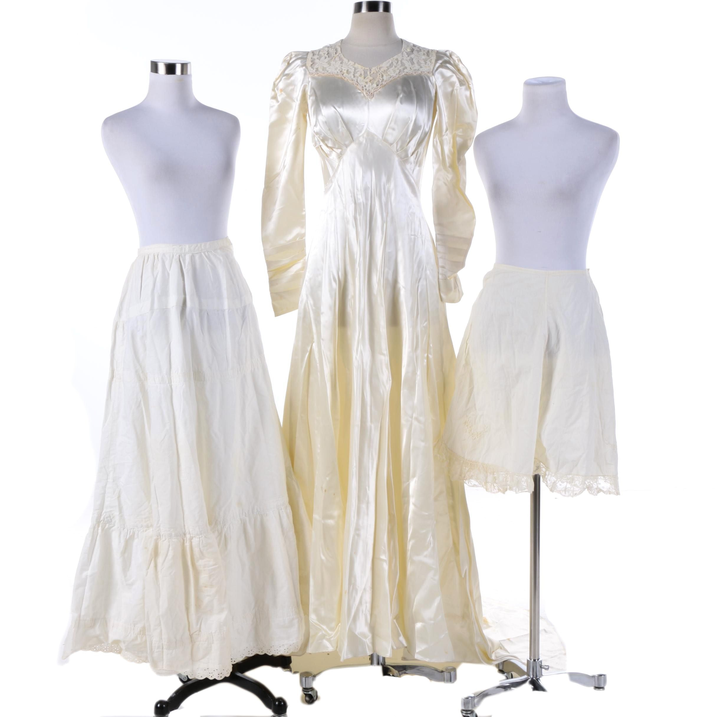 Circa 1940s Vintage Satin Wedding Dress, Crinoline and Bloomers