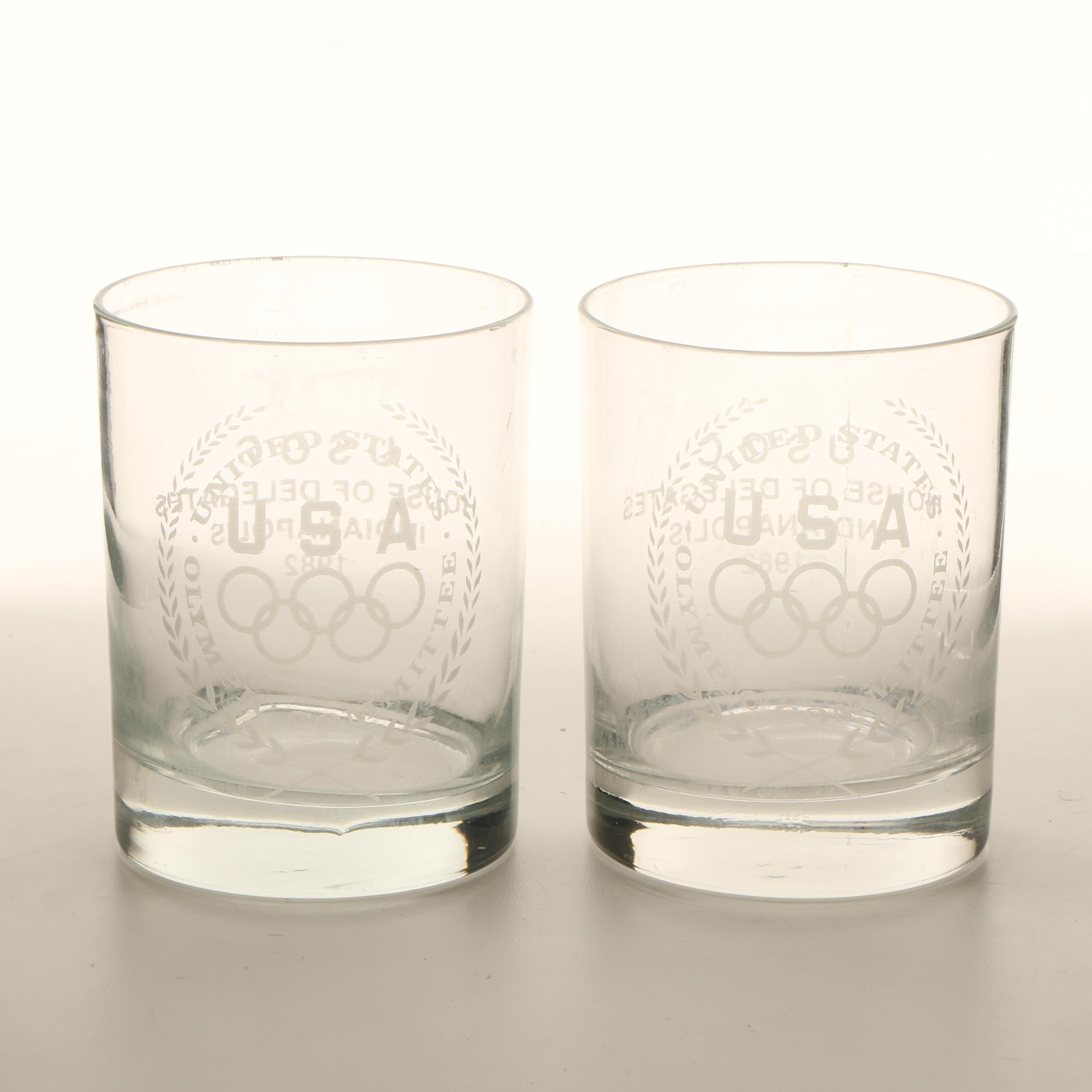 Pair of 1982 United States Olympic Committee Glass Tumblers