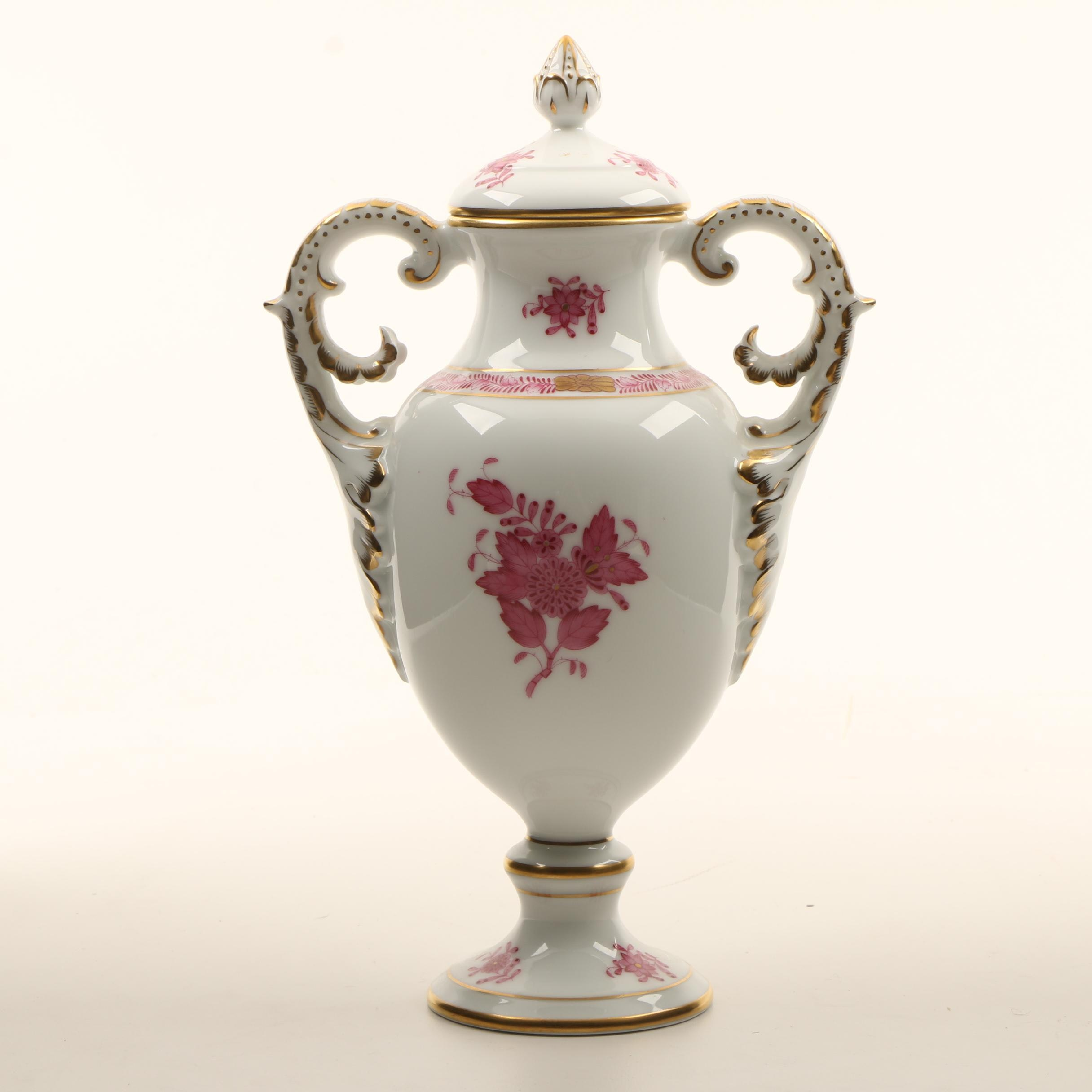 """Herend """"Chinese Bouquet"""" Hand-Painted Porcelain Covered Urn"""