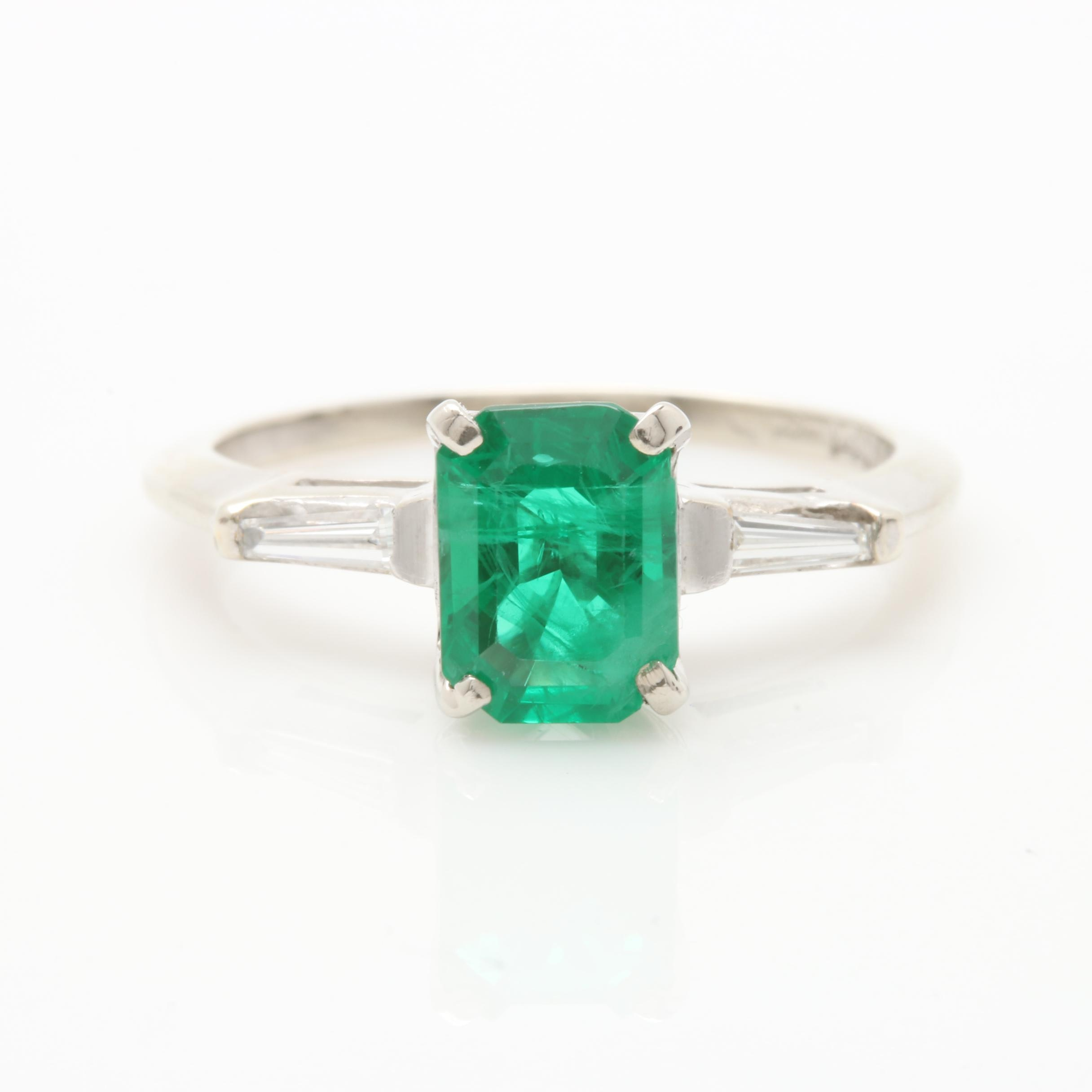 14K White Gold Synthetic Emerald and Diamond Ring