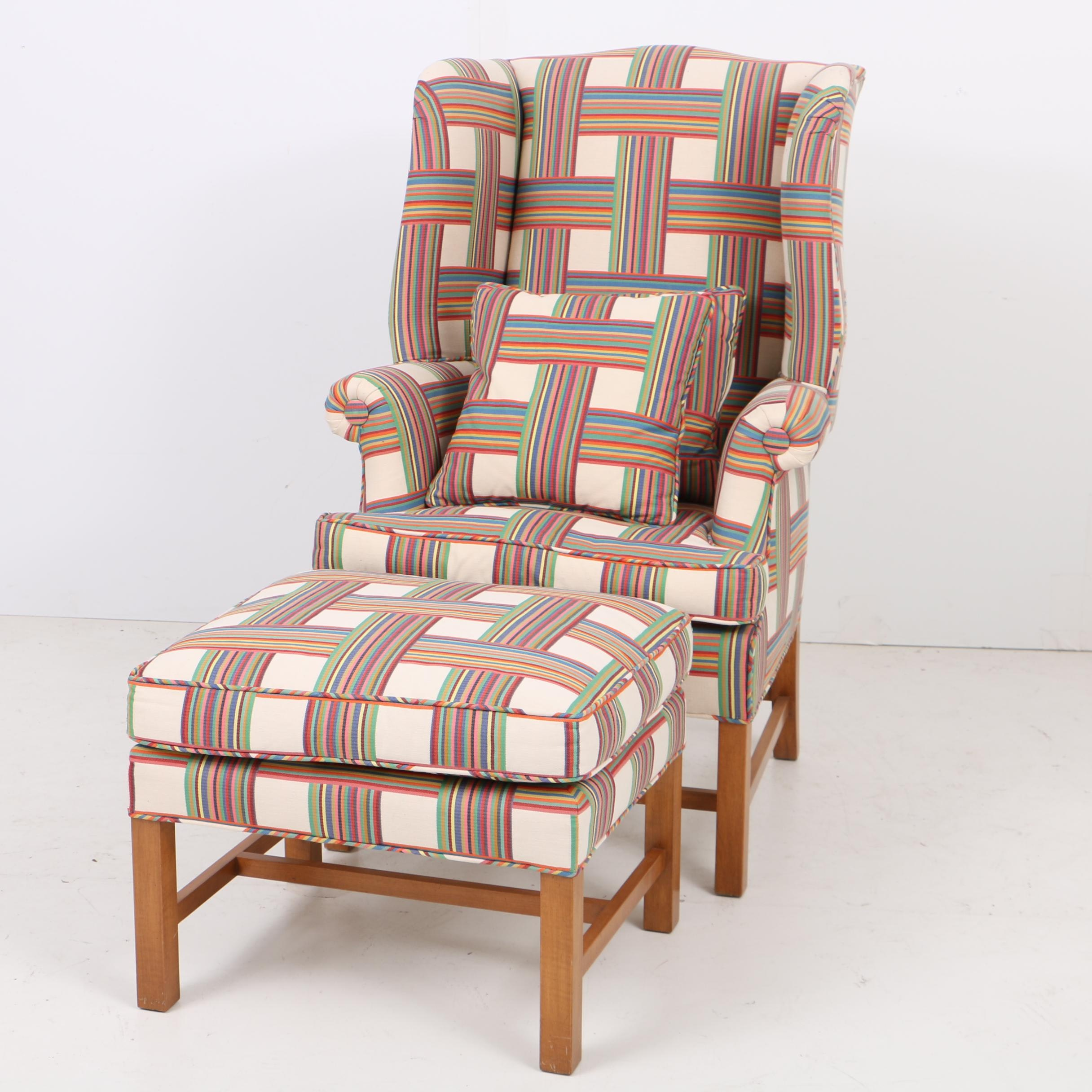 Chippendale Style Wing Chair and Ottoman in Custom Upholstery
