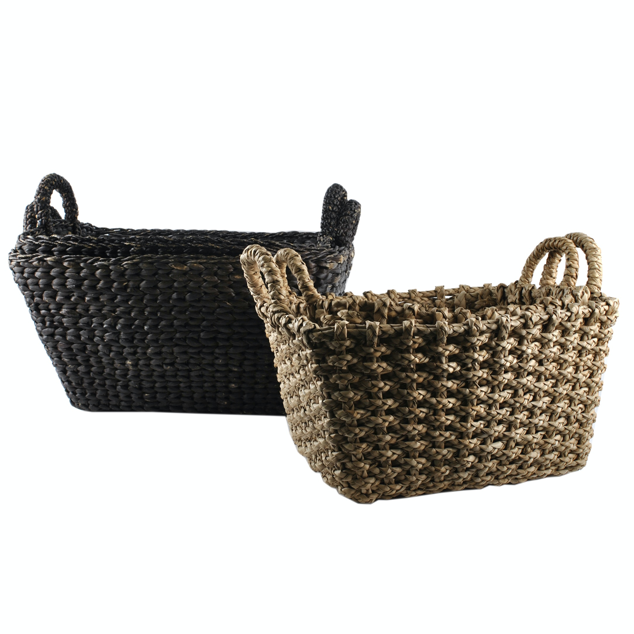 Stained and Natural Sea Grass Woven Rectangular Handled Baskets